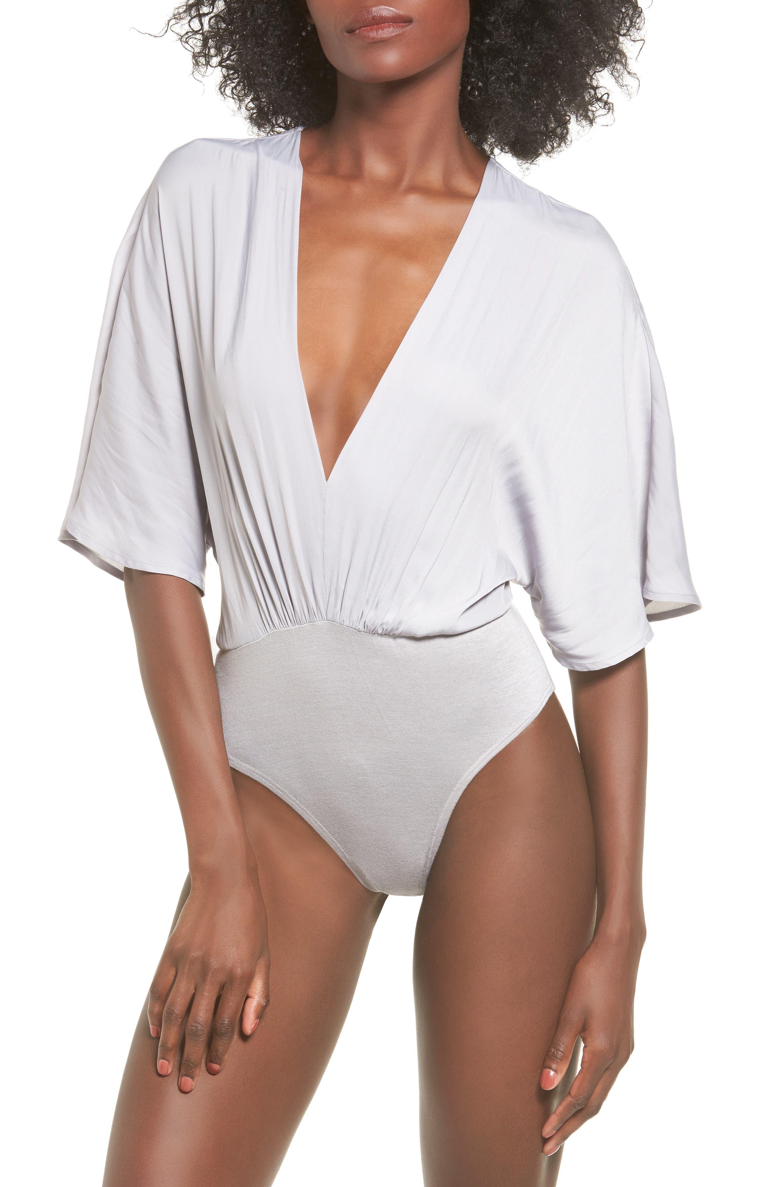 Deep V Bodysuit,                             Alternate thumbnail 4, color,                             Grey Sconce