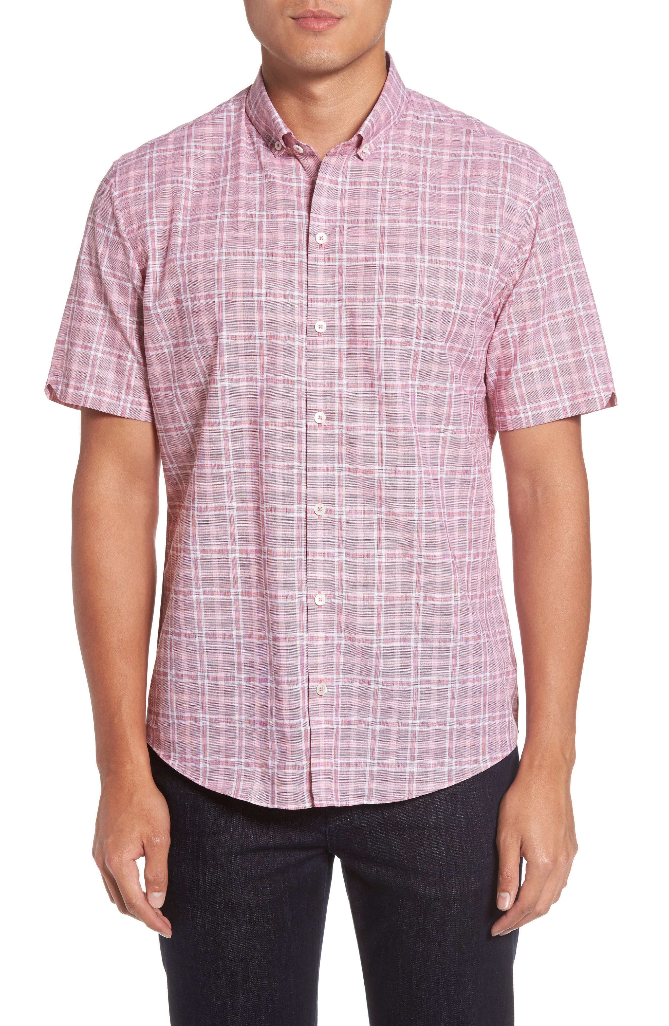 Holland Plaid Short Sleeve Sport Shirt,                             Main thumbnail 1, color,                             Red