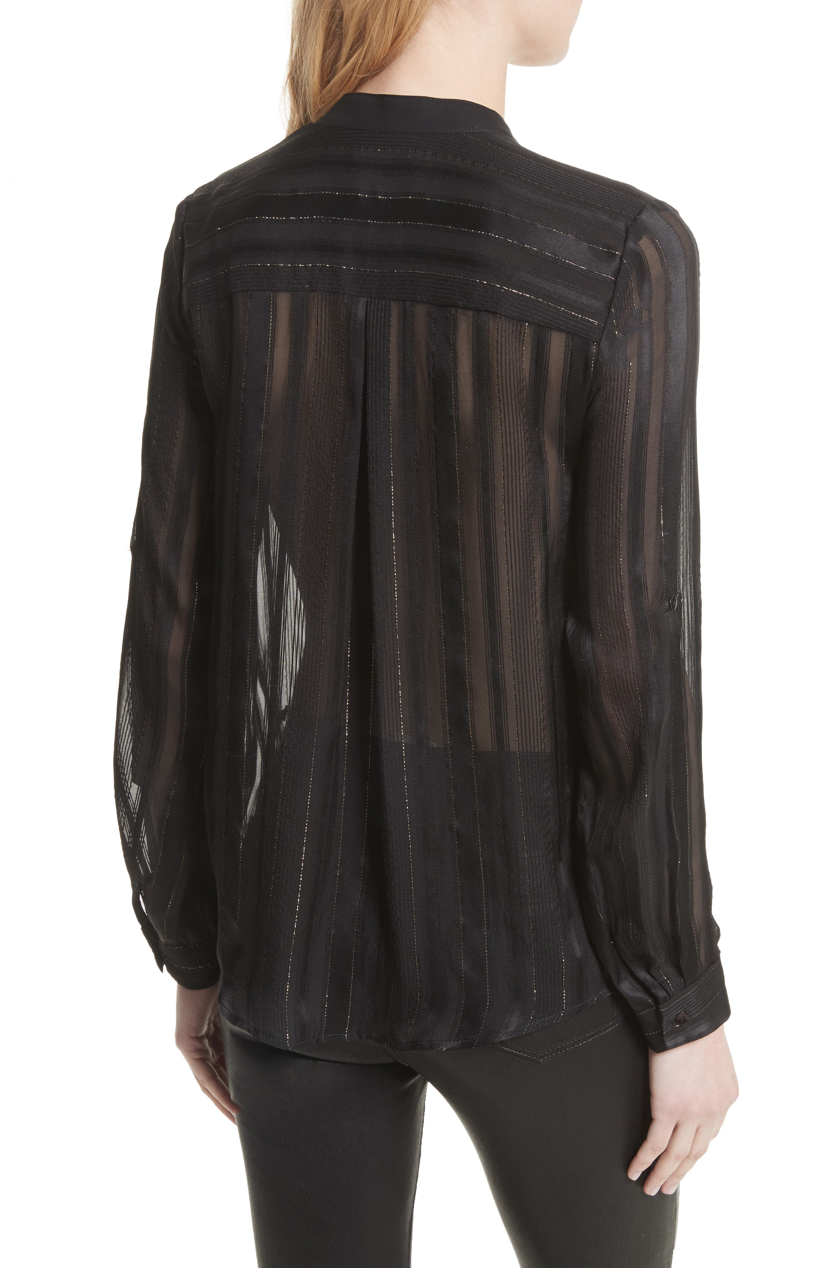 Nadja Tassel Blouse,                             Alternate thumbnail 2, color,                             Black/ Gold