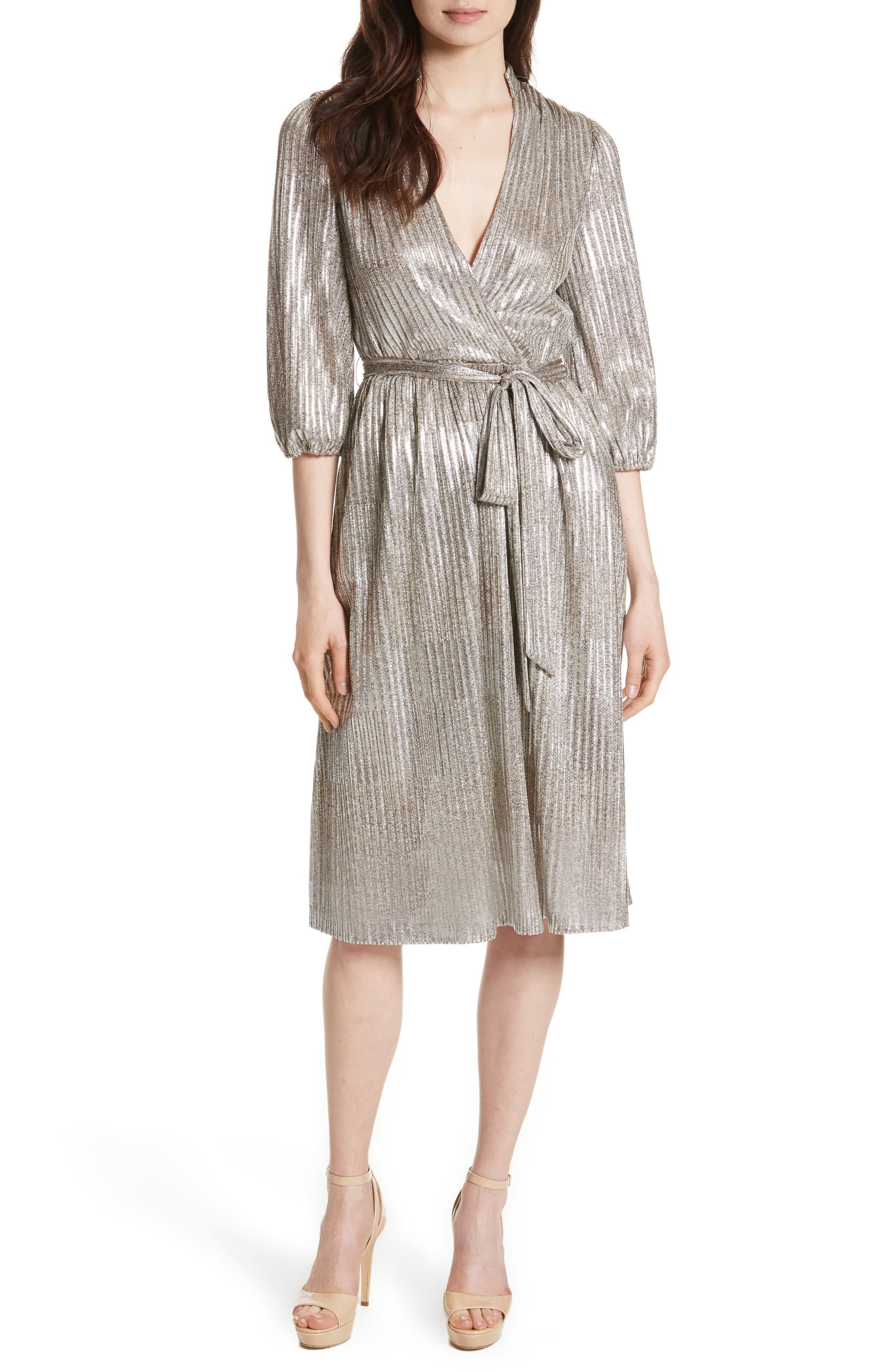 Katina Metallic Wrap Dress,                             Main thumbnail 1, color,                             Gold