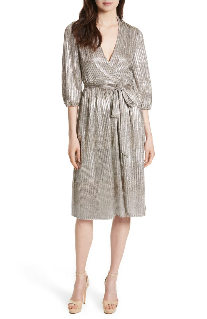 Alice Olivia Katina Metallic Wrap Dress Nordstrom