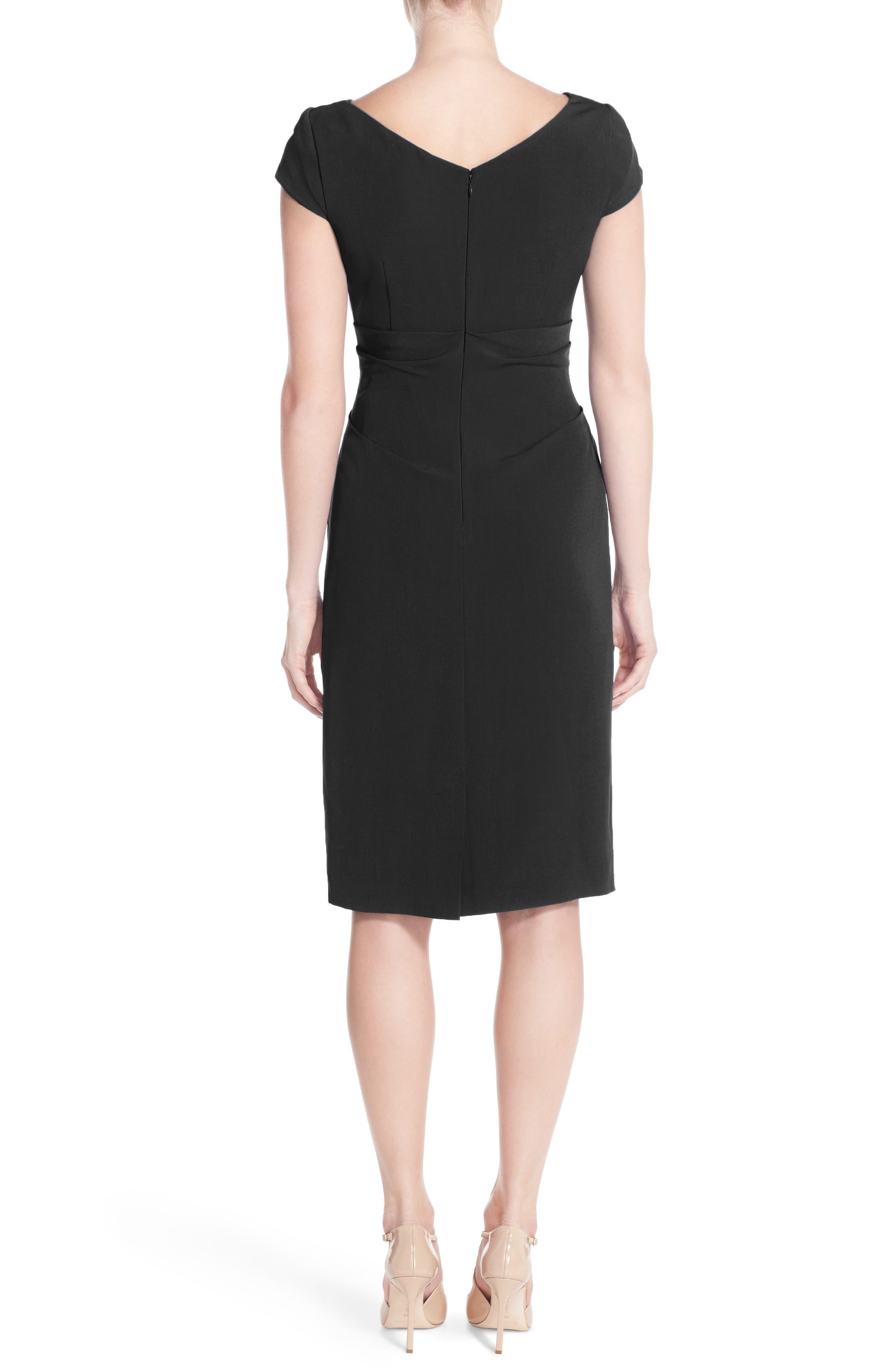 Ruched Matte Stretch Crepe Sheath Dress,                             Alternate thumbnail 2, color,                             Black