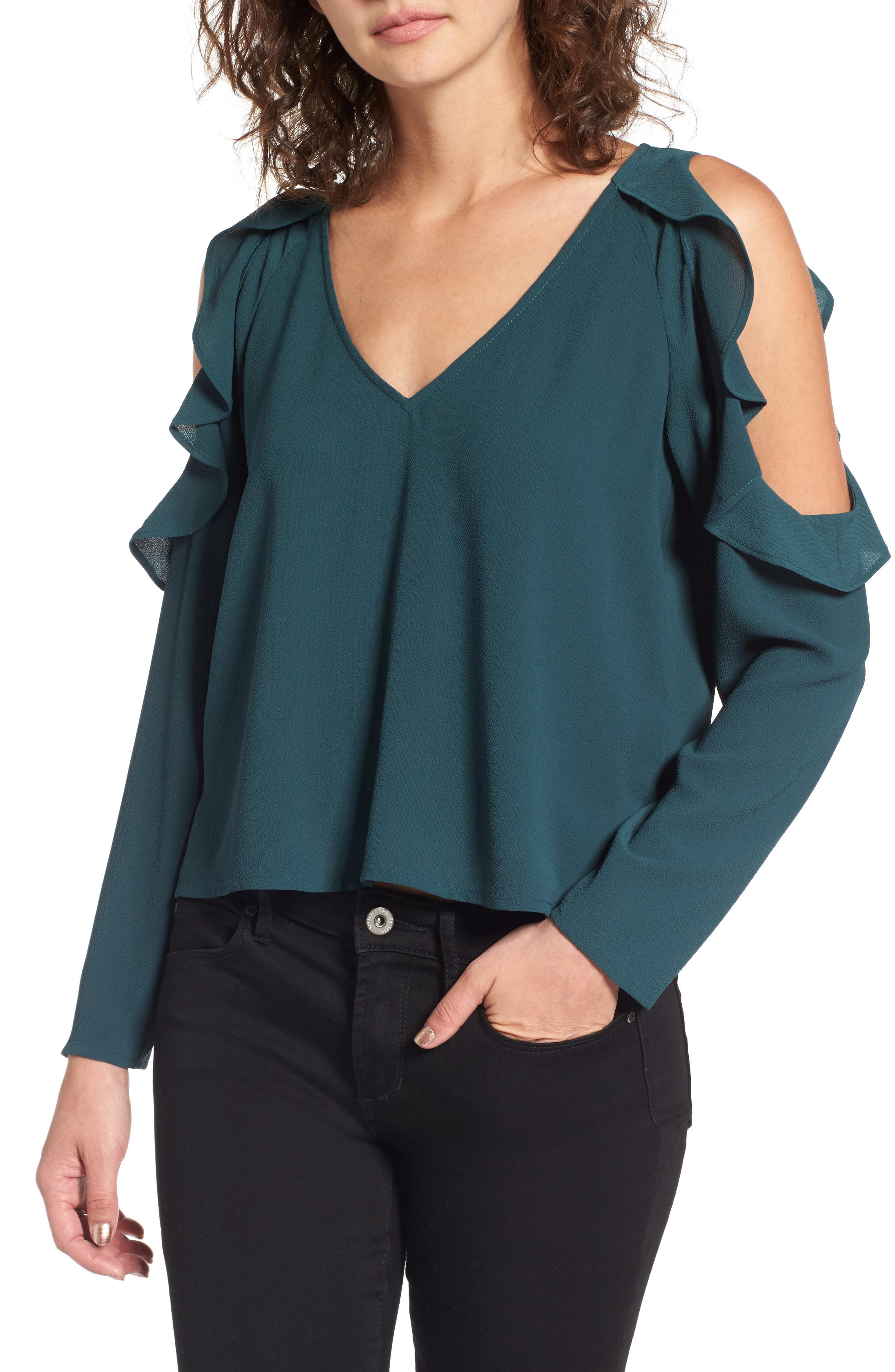 Cold Shoulder Ruffle Top,                         Main,                         color, Green Gables
