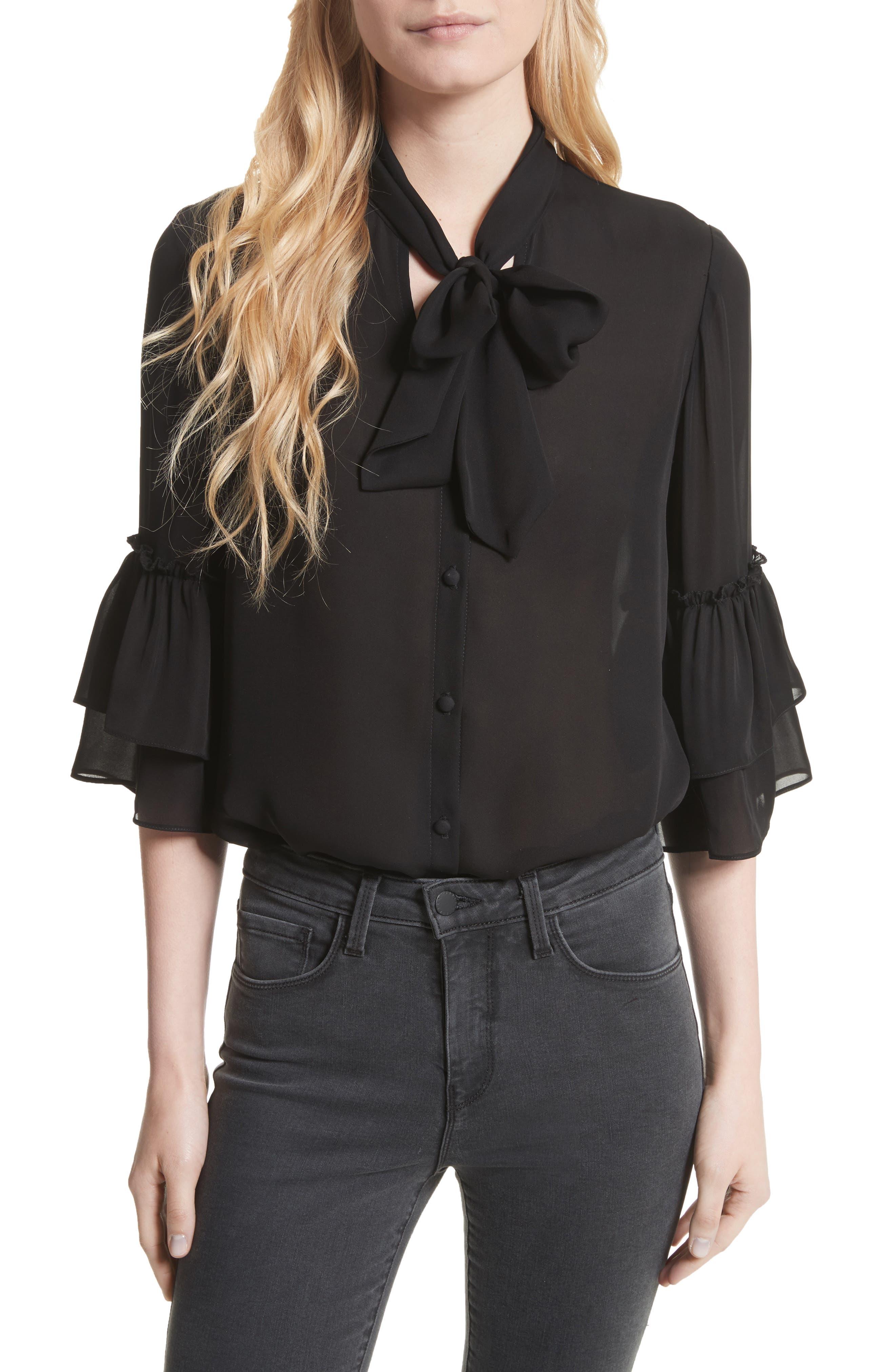 Alternate Image 1 Selected - L'AGENCE Desa Ruffle Sleeve Silk Blouse