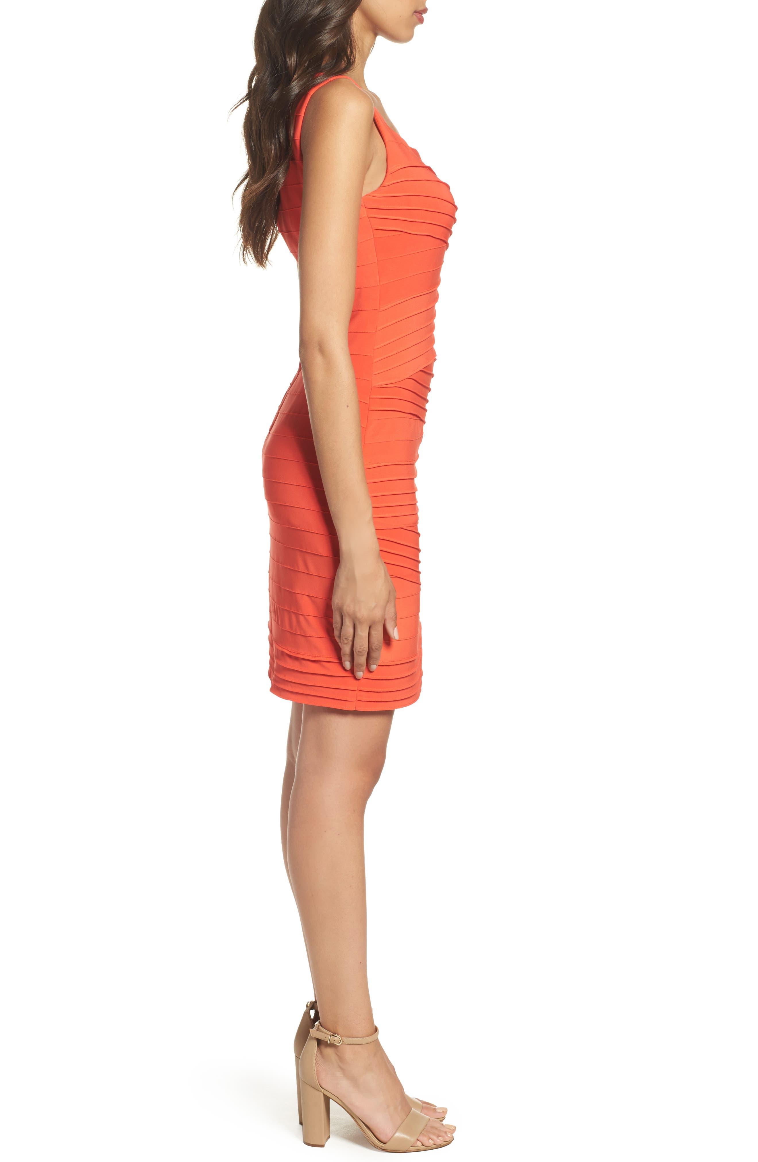 Banded Body-Con Dress,                             Alternate thumbnail 3, color,                             Fire Orange