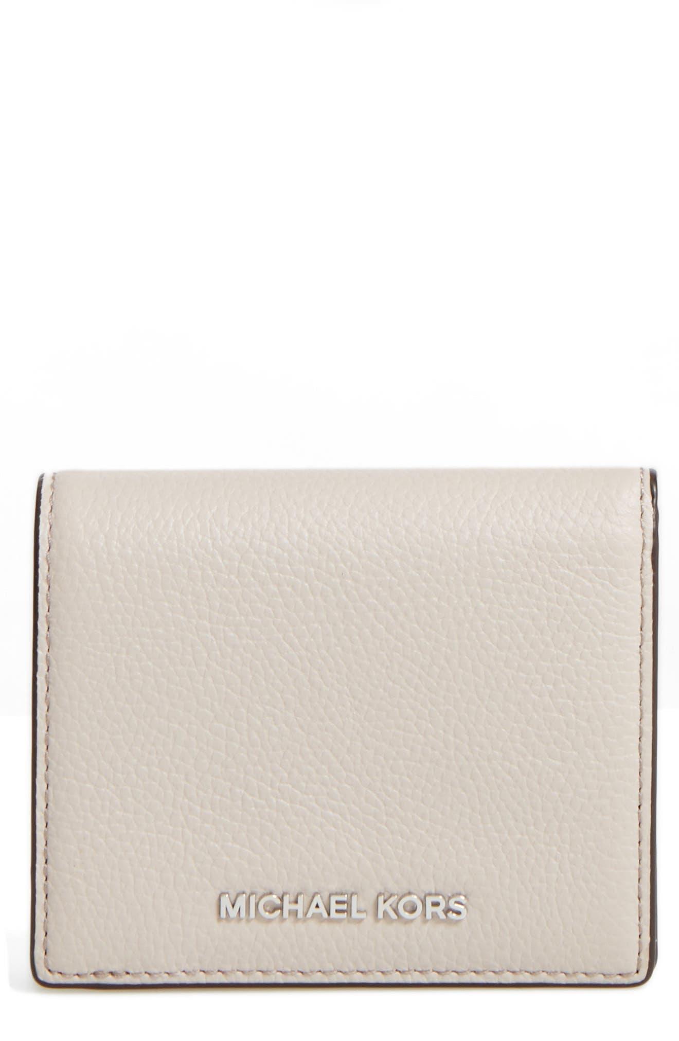 Mercer Leather RFID Cardholder Wallet,                         Main,                         color, Cement