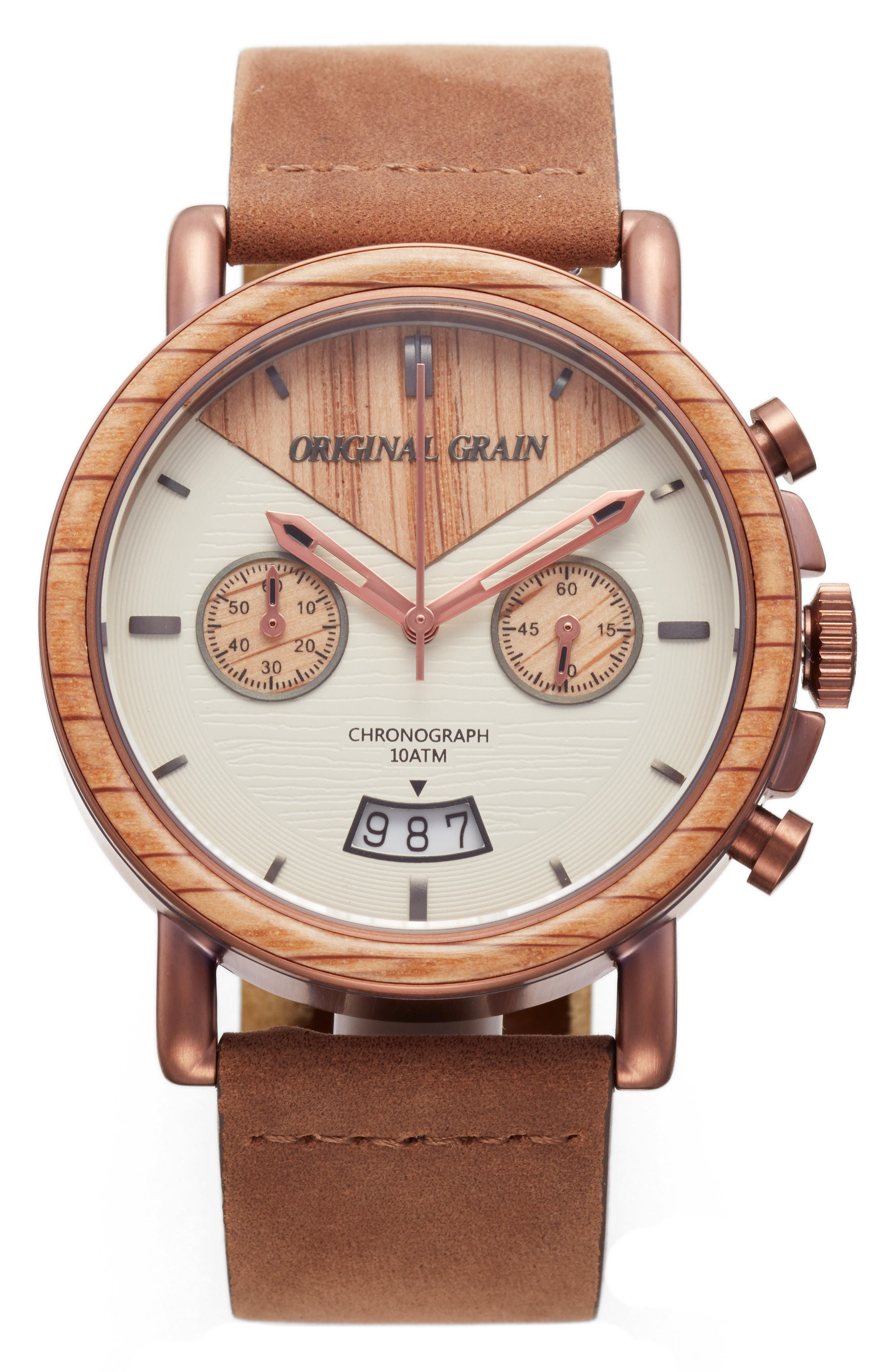 Alterra Chronograph Leather Strap Watch, 44mm,                             Main thumbnail 1, color,                             Whiskey Oak/ Brown