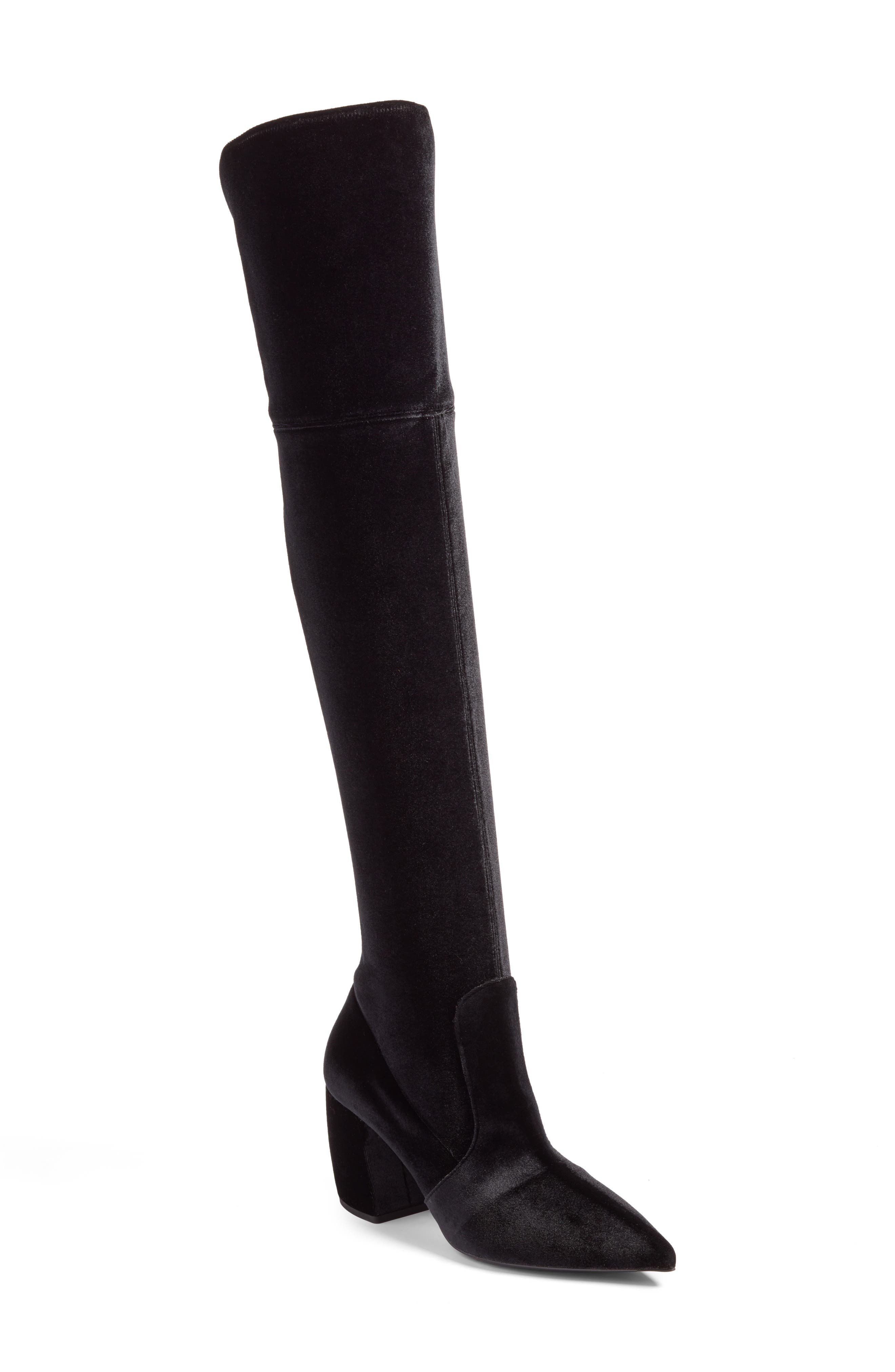Over the Knee Boot,                             Main thumbnail 1, color,                             Black