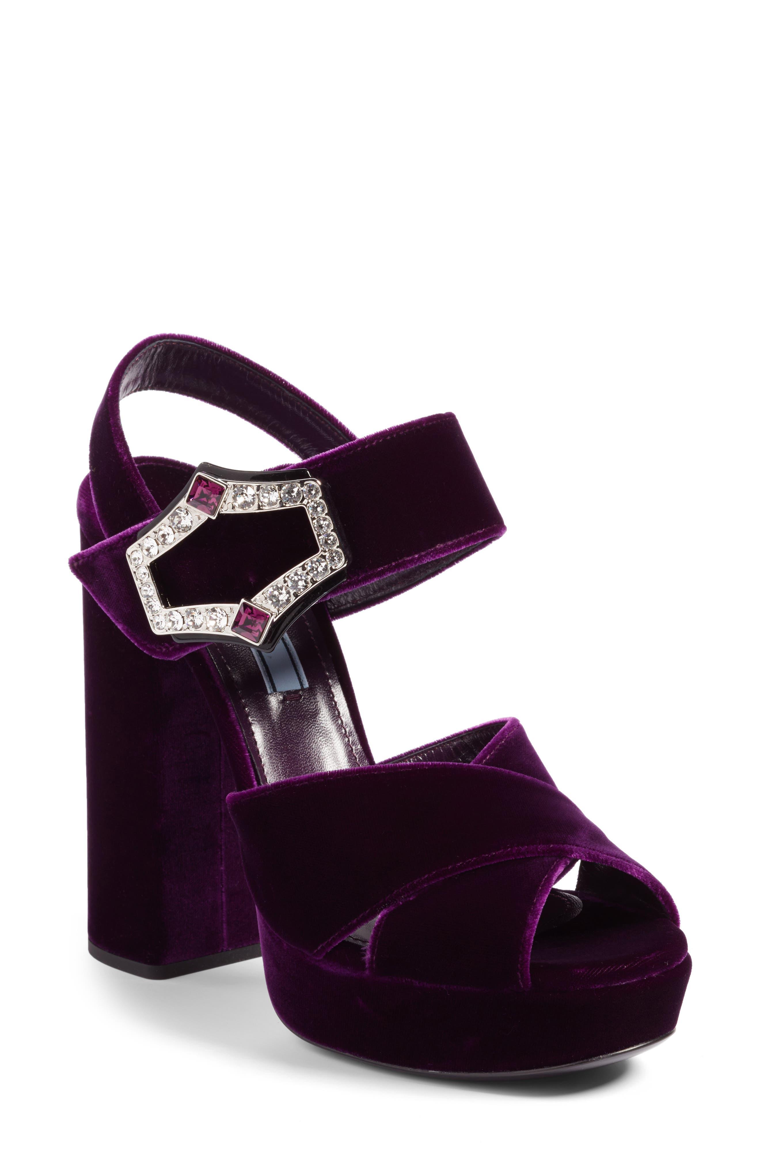 Criss Cross Platform Sandal,                         Main,                         color, Purple