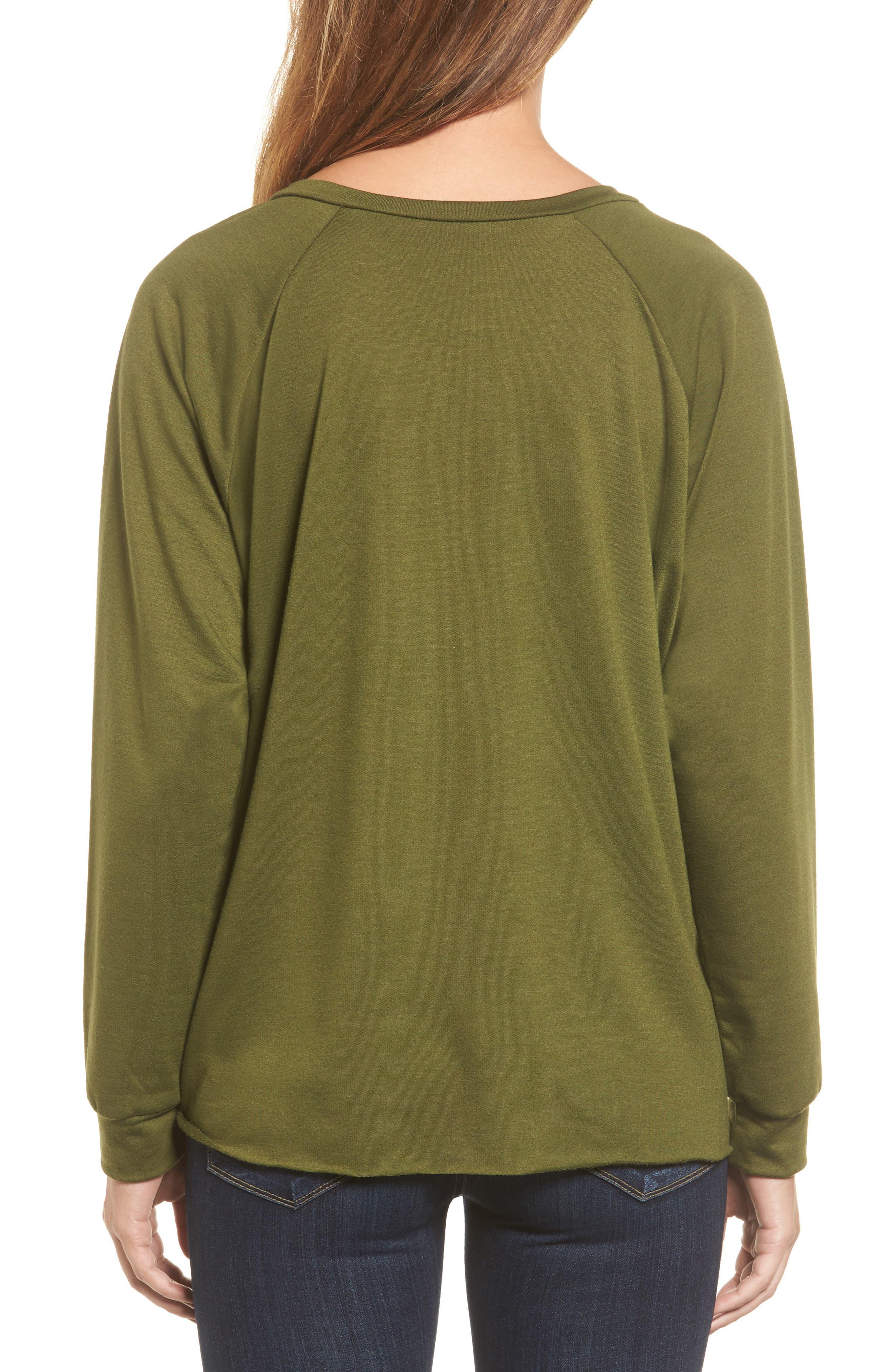 Alternate Image 2  - Caslon® Tie Front Sweatshirt (Regular & Petite)