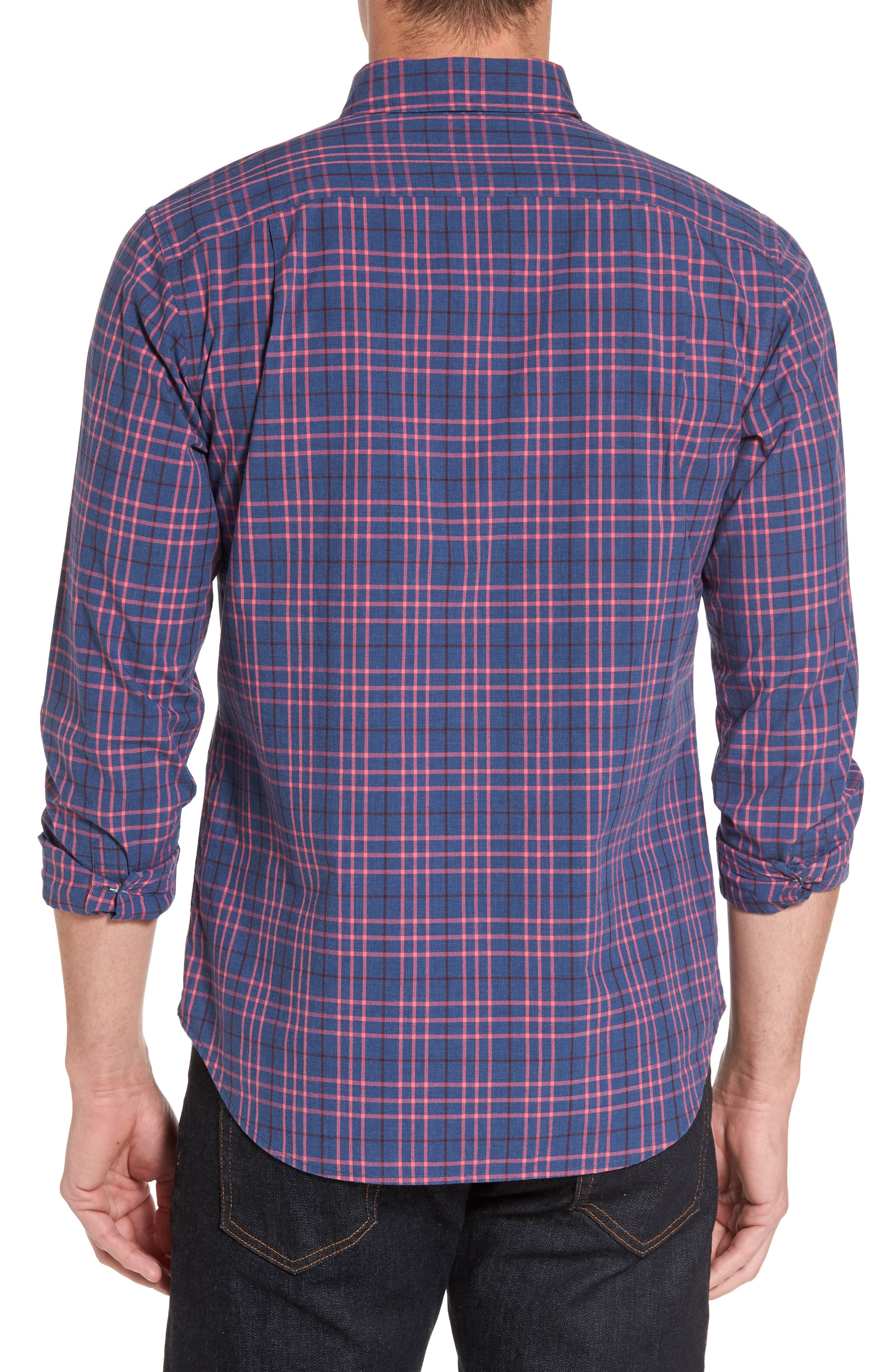 Slim Fit Washed Plaid Sport Shirt,                             Alternate thumbnail 2, color,                             Coral Ribbon Check