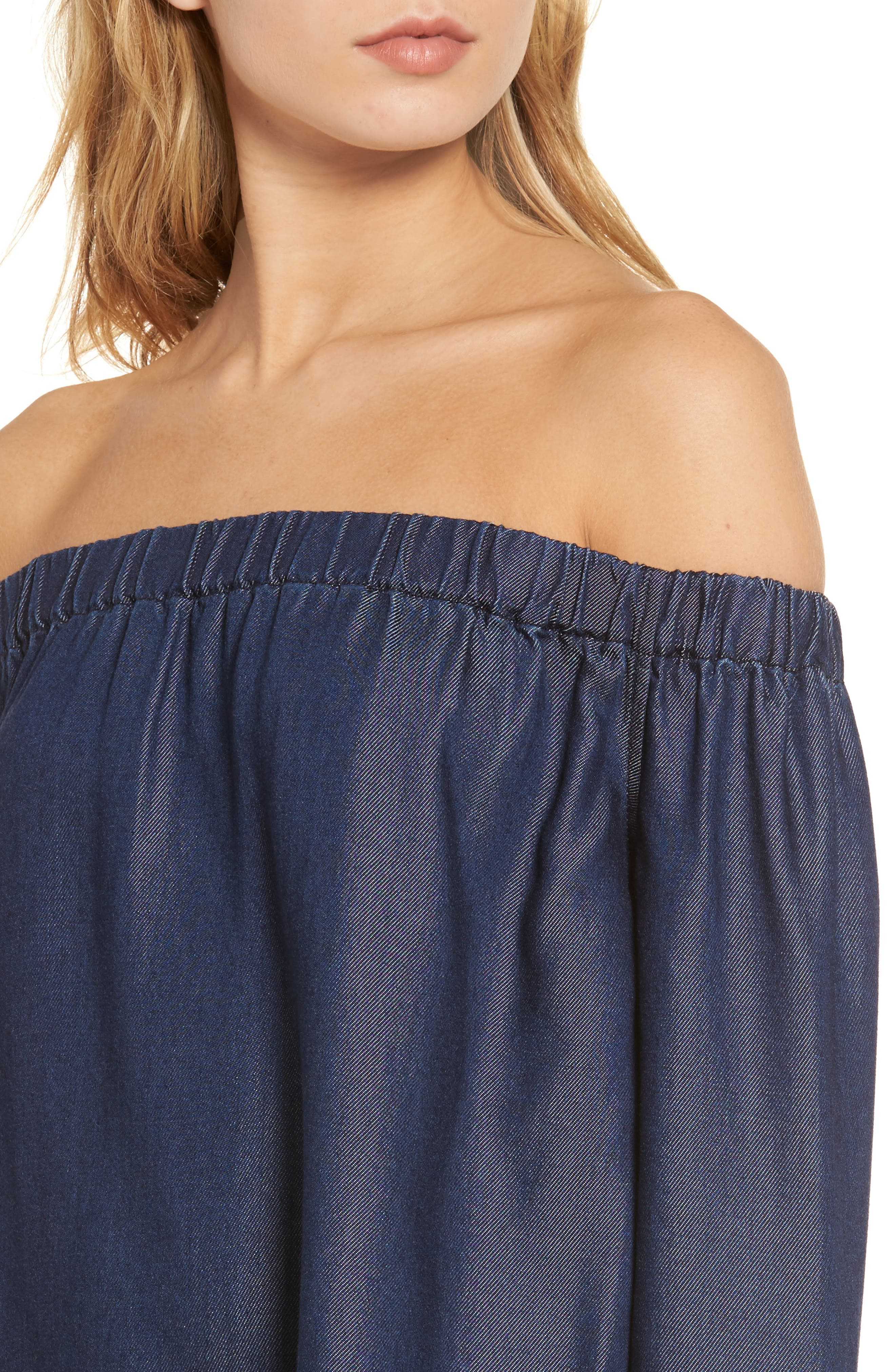 Alternate Image 4  - 7 For All Mankind® Off the Shoulder Denim Top