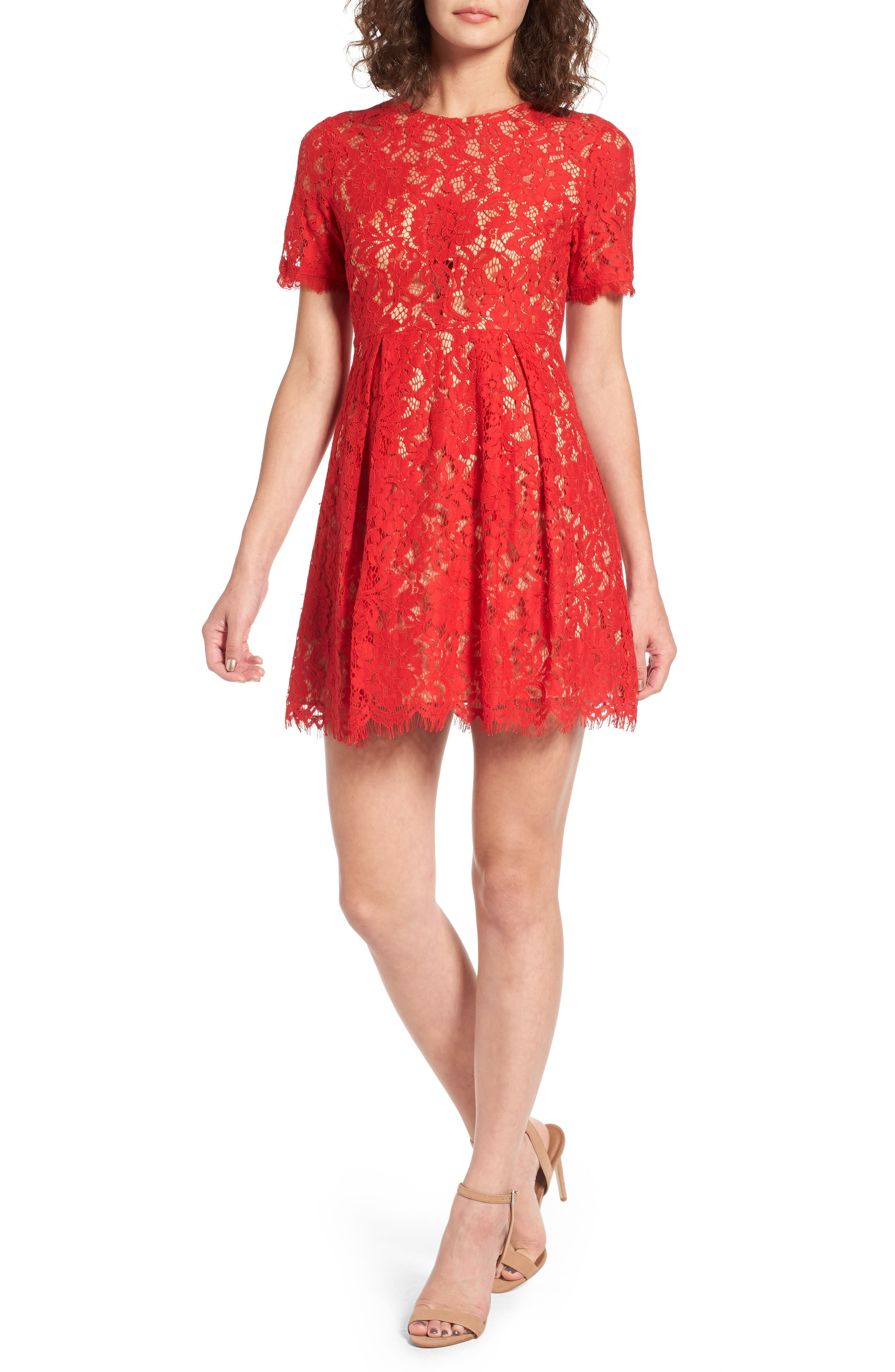 Lush Pleated Lace Skater Dress