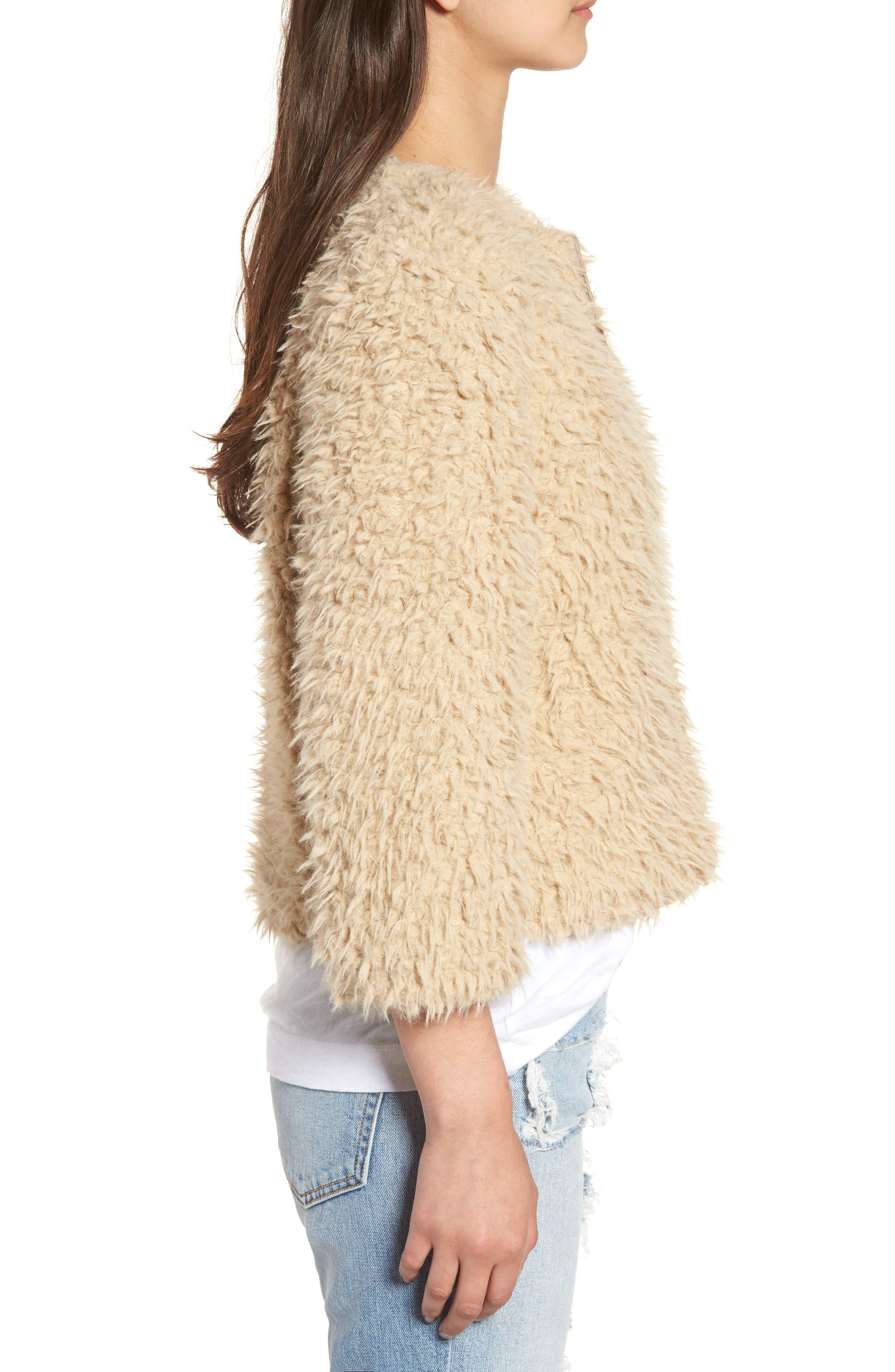 Macy Faux Fur Jacket,                             Alternate thumbnail 3, color,                             Light Camel