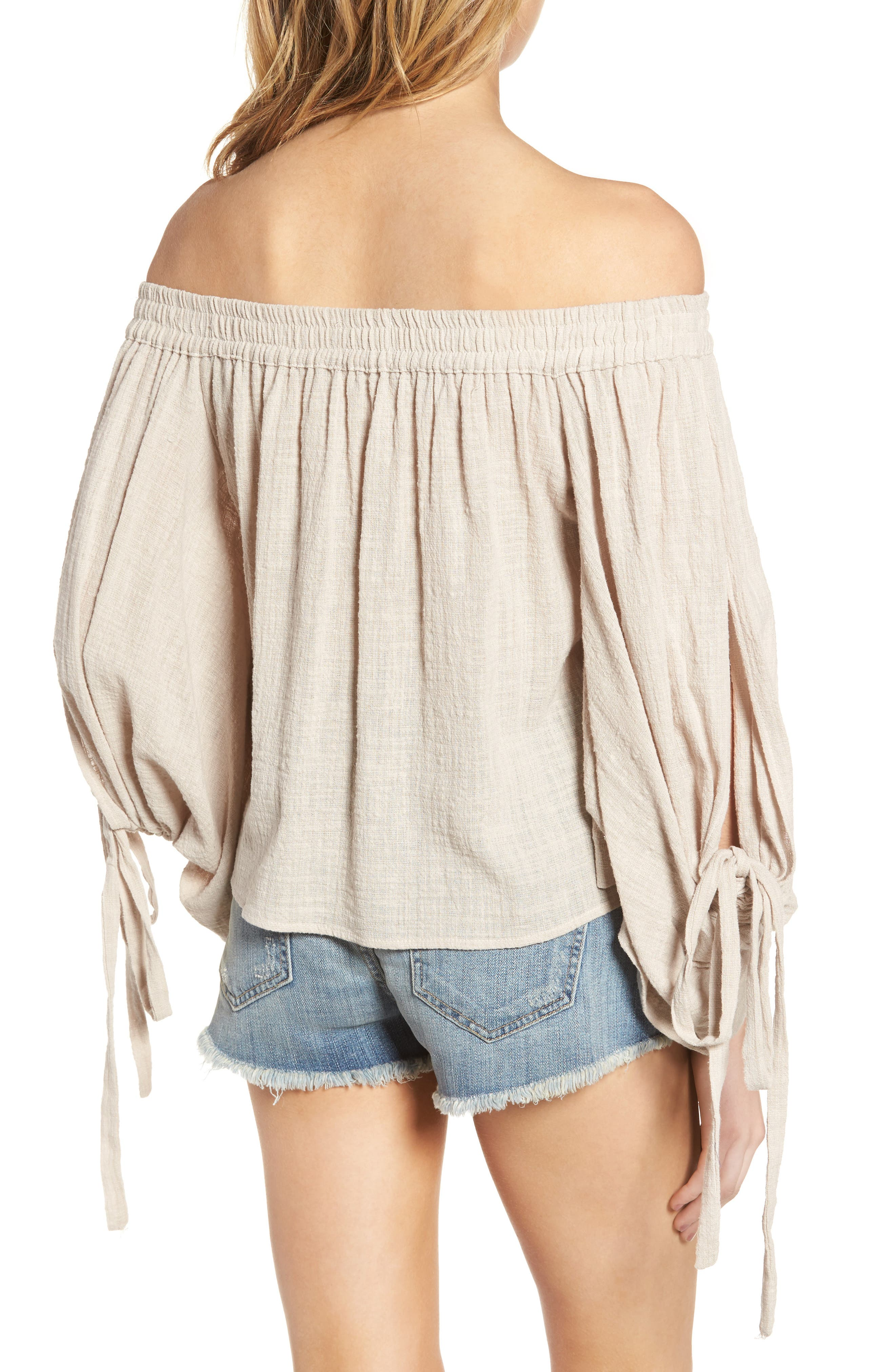 Adeli Off the Shoulder Top,                             Alternate thumbnail 3, color,                             Oatmeal