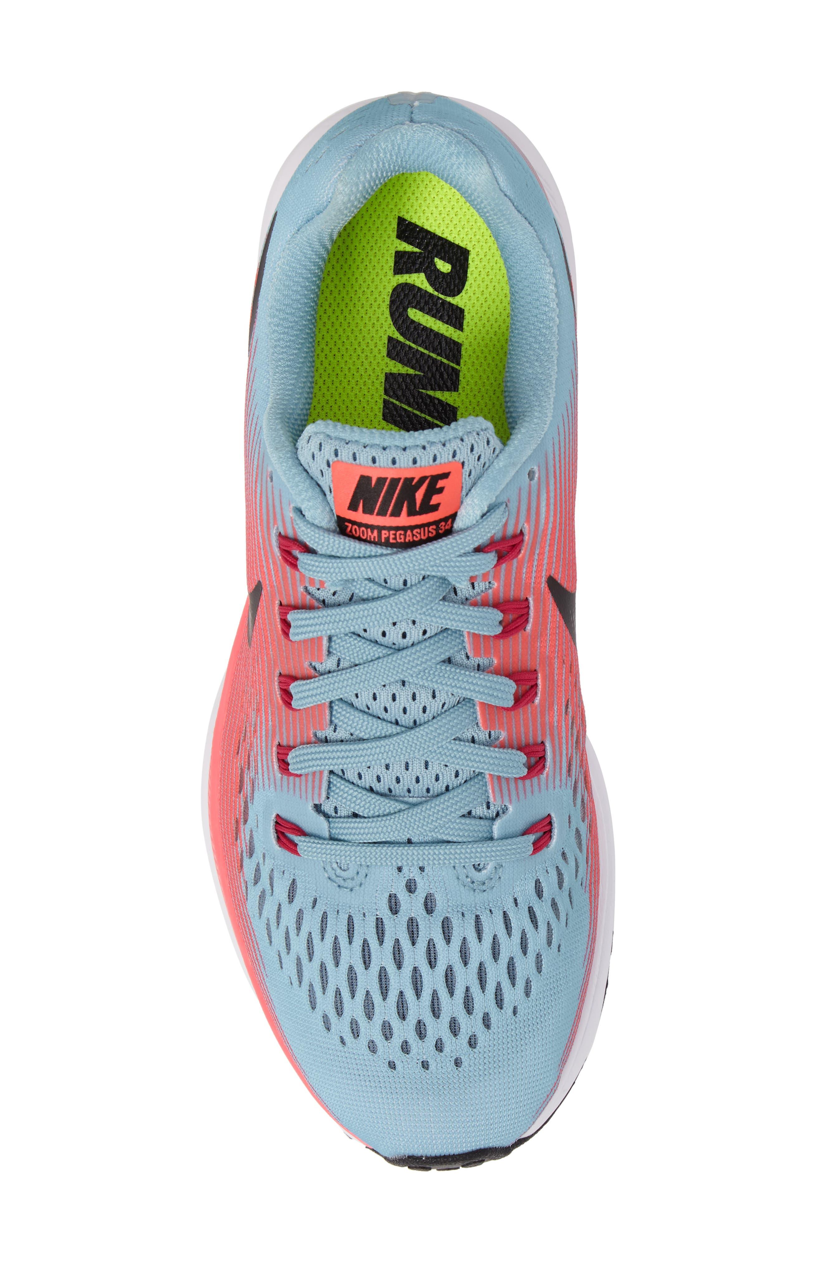 Air Zoom Pegasus 34 Running Shoe,                             Alternate thumbnail 5, color,                             Blue/ White/ Pink/ Fuchsia