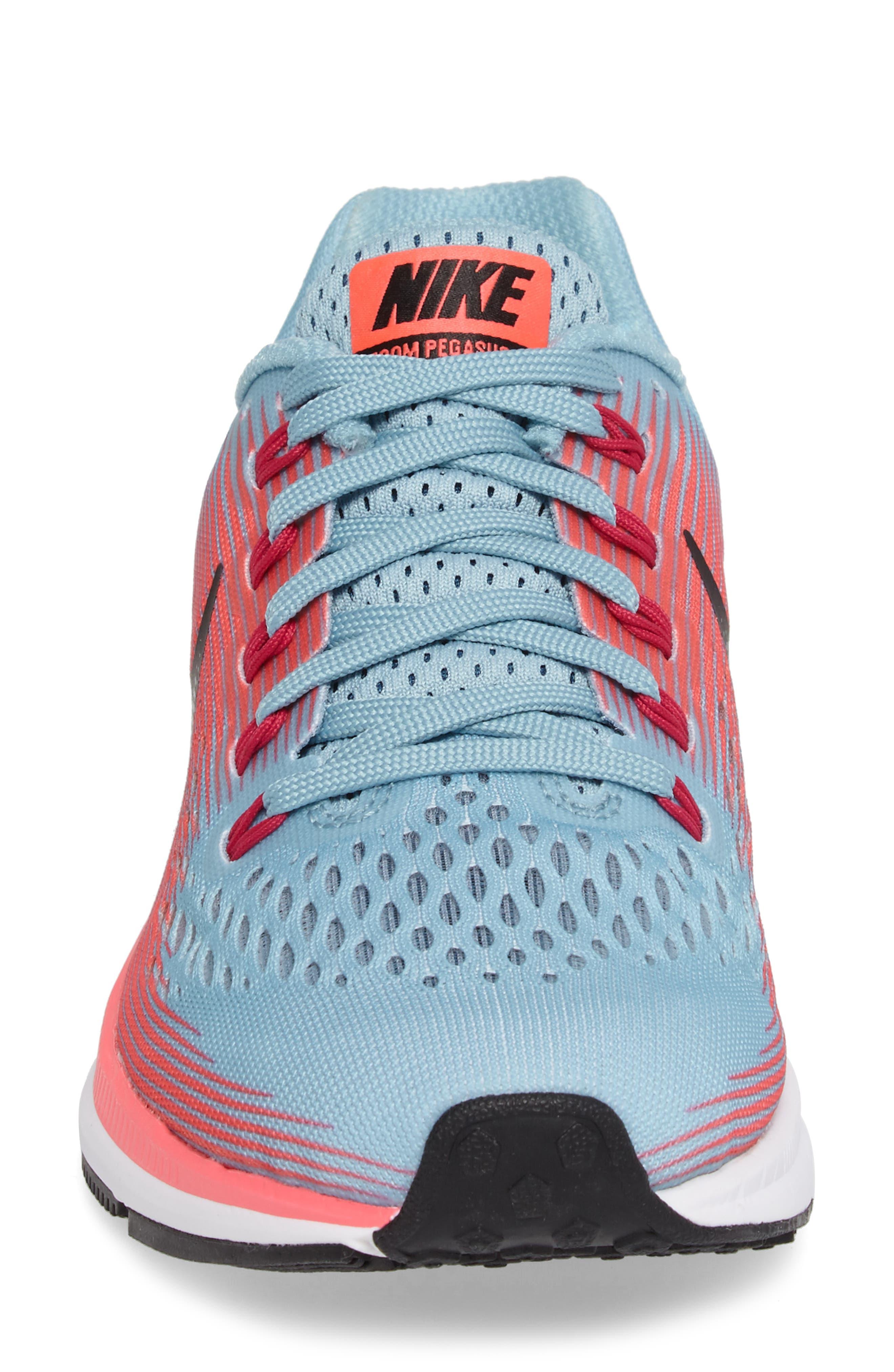 Air Zoom Pegasus 34 Running Shoe,                             Alternate thumbnail 4, color,                             Blue/ White/ Pink/ Fuchsia