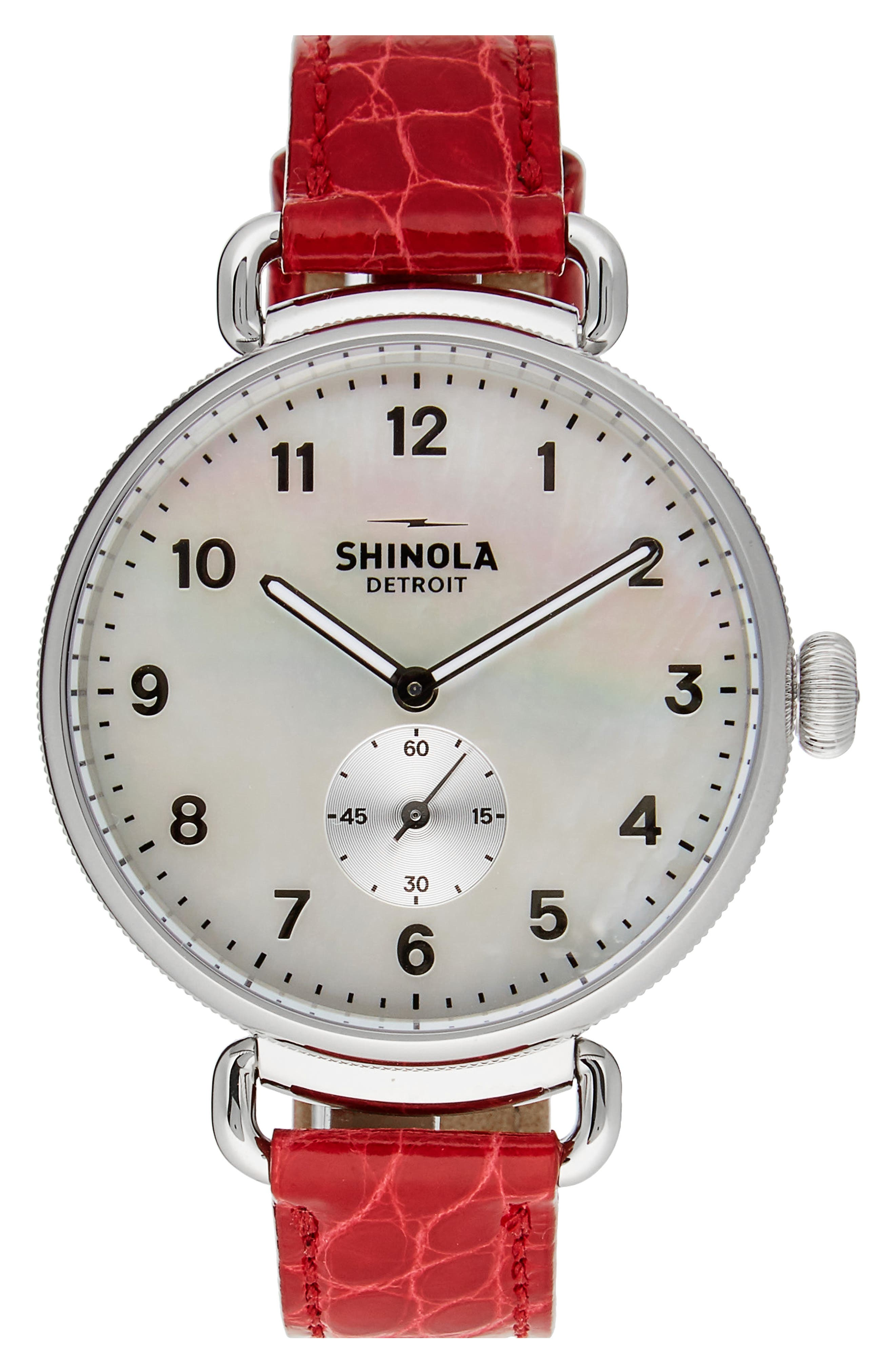 The Canfield Alligator Strap Watch, 38mm,                         Main,                         color, Red/ Mop/ Silver