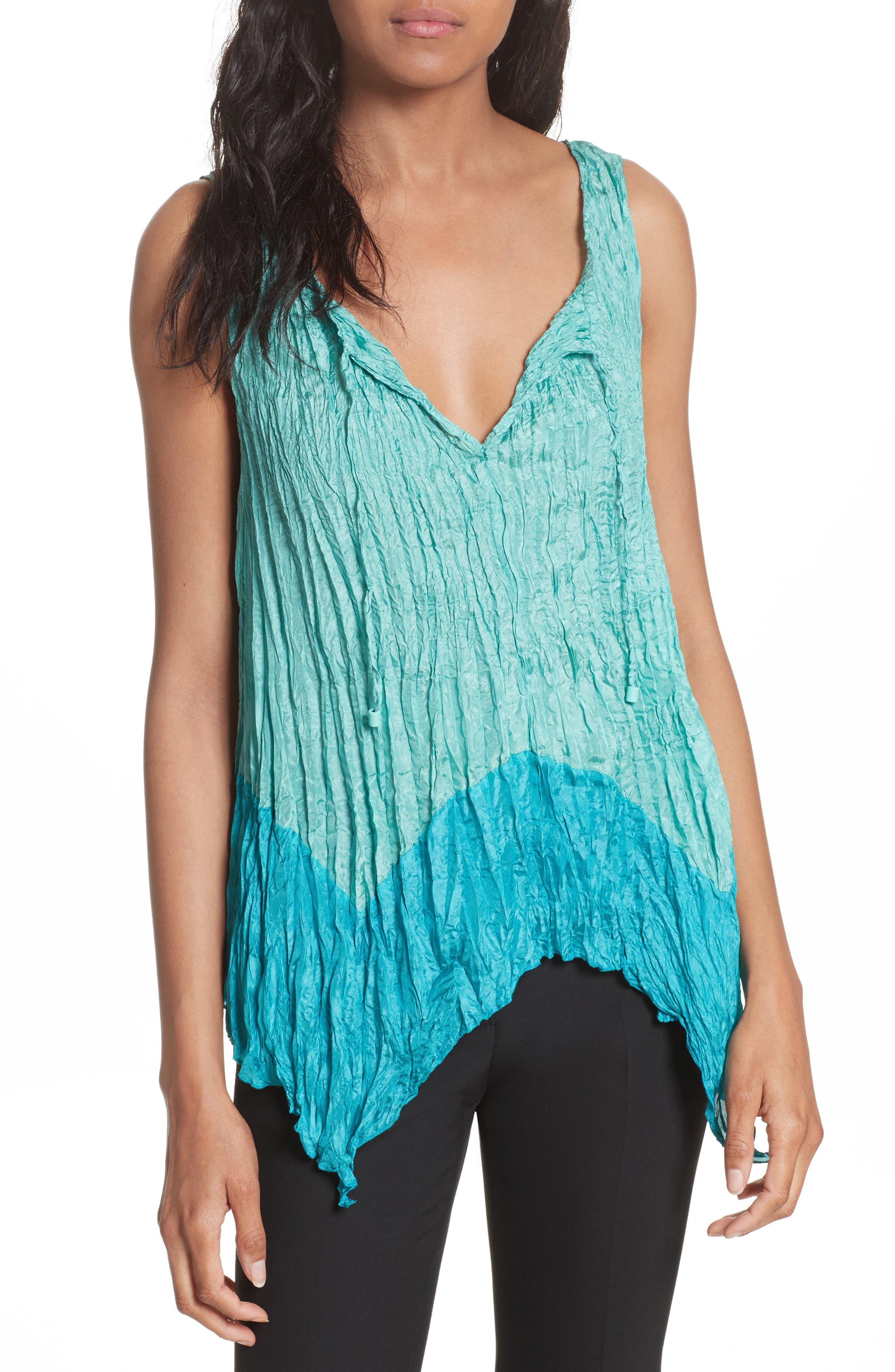 Tracy Reese Handkerchief Hem Crinkle Silk Top