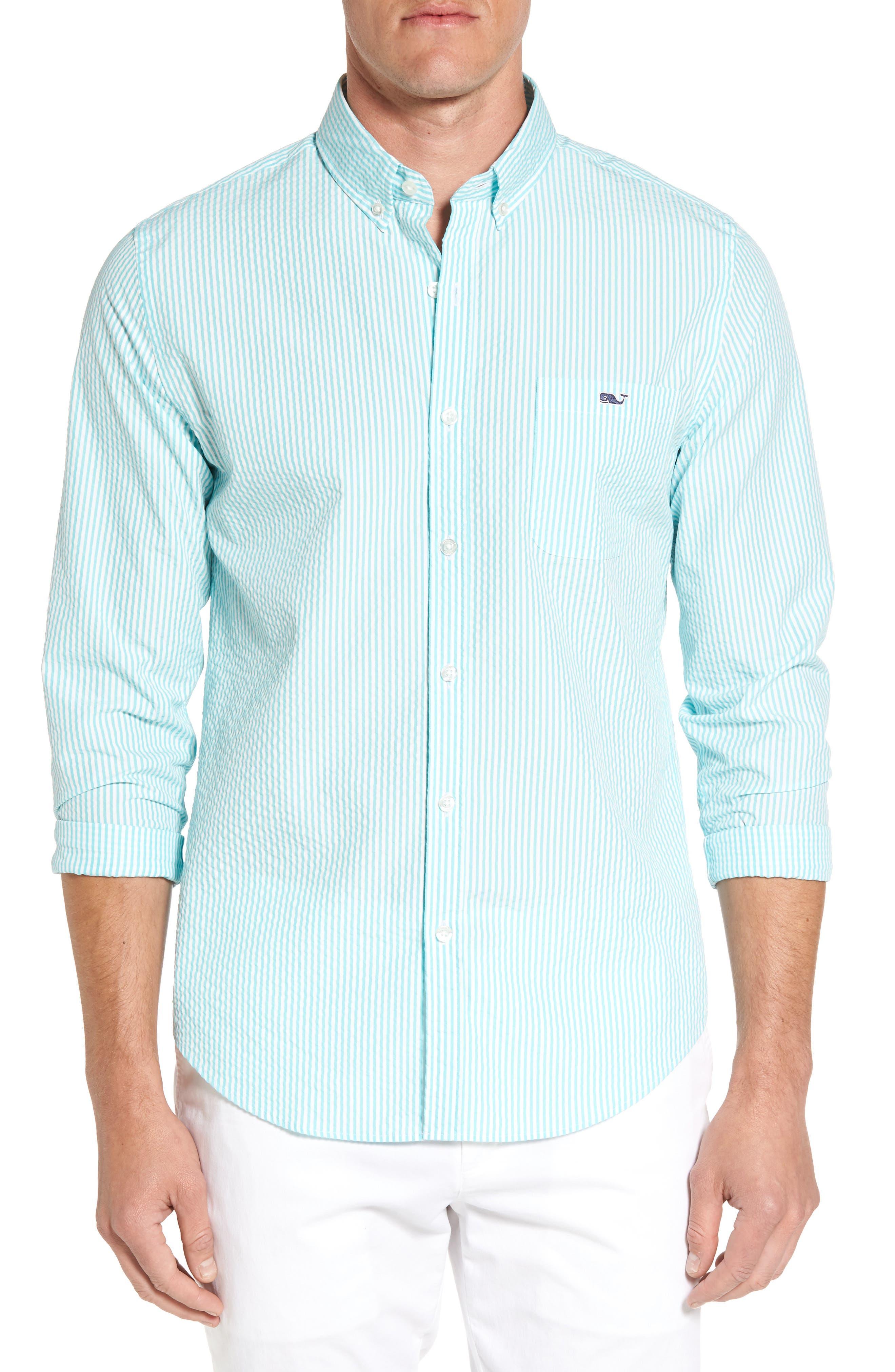 Vineyard Vines Slim Fit Skysail Stripe Seersucker Sport Shirt