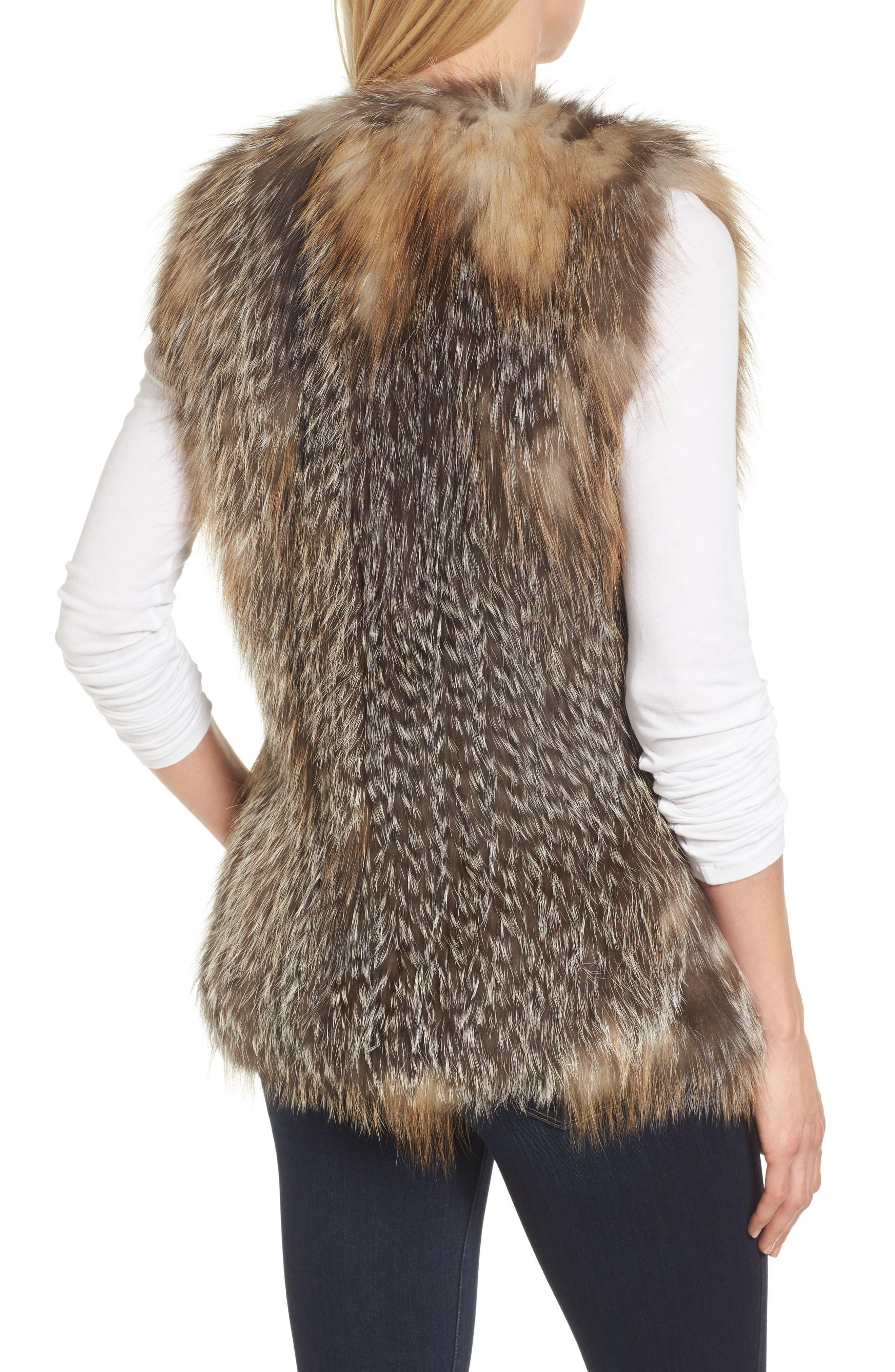 Genuine Fox Fur Vest,                             Alternate thumbnail 2, color,                             Natural Gold