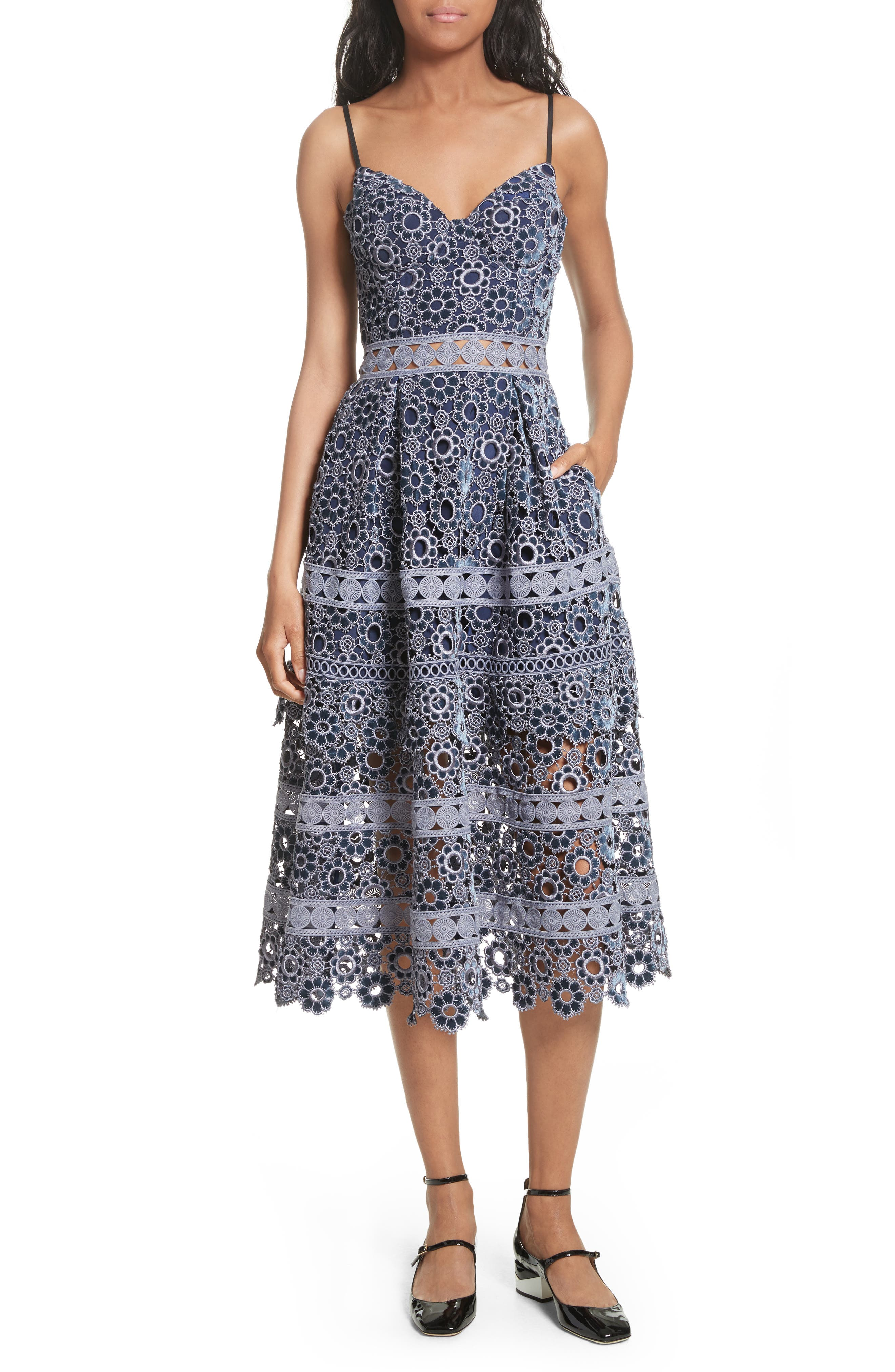 Embroidered Cutwork Midi Dress,                         Main,                         color, Lilac