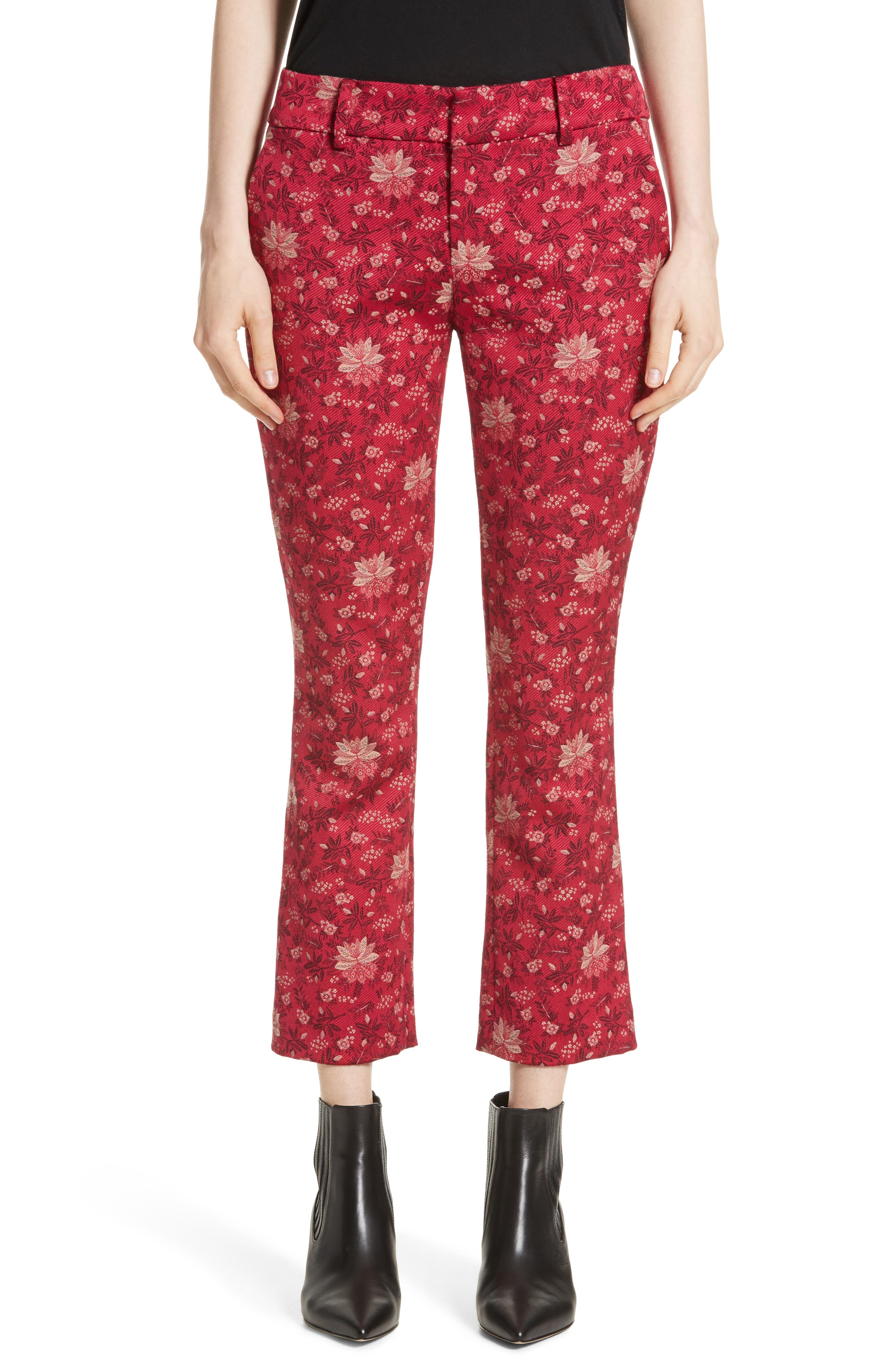 Stacey Crop Flare Print Pants,                         Main,                         color, Fuchsia