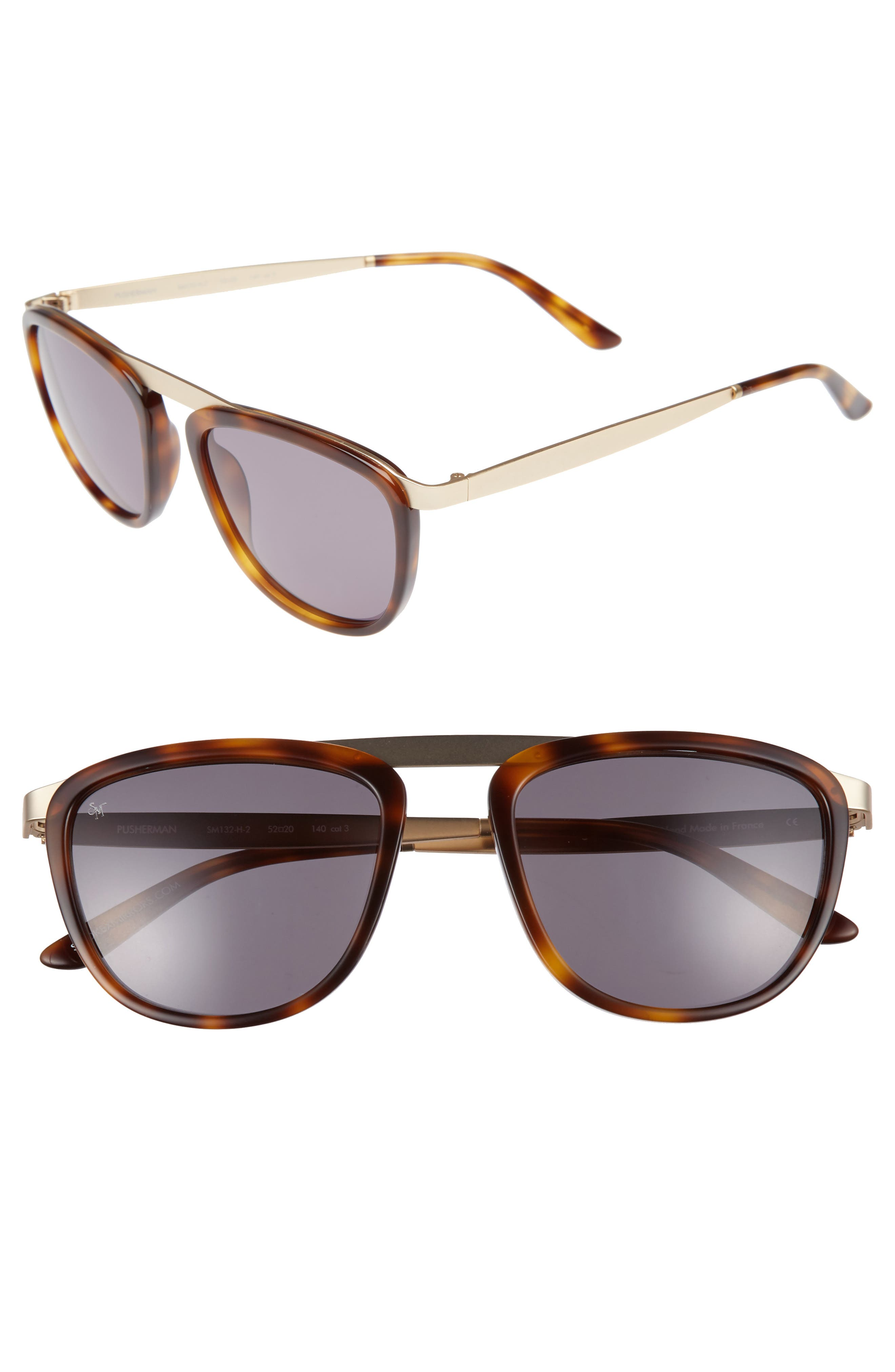 Pusherman 52mm Retro Sunglasses,                         Main,                         color, Tortoise- Matte Gold/ Green