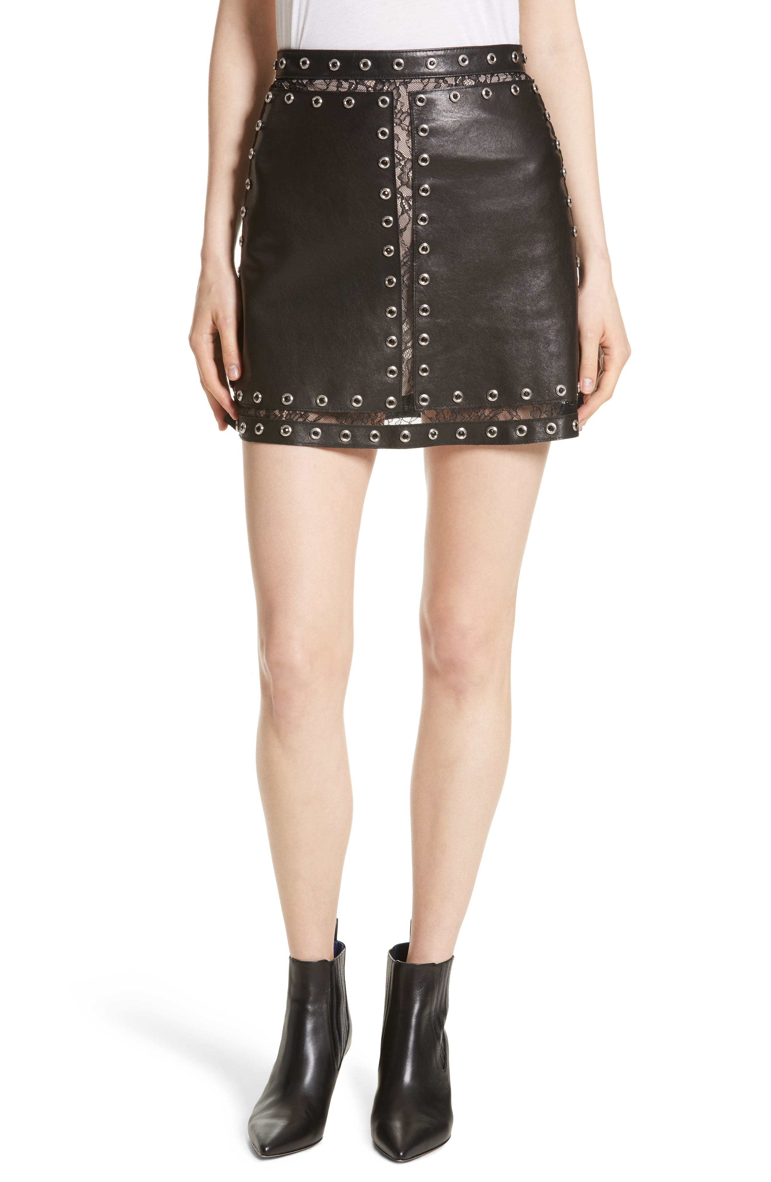 Riley Studded Leather Mini Skirt,                         Main,                         color, Black