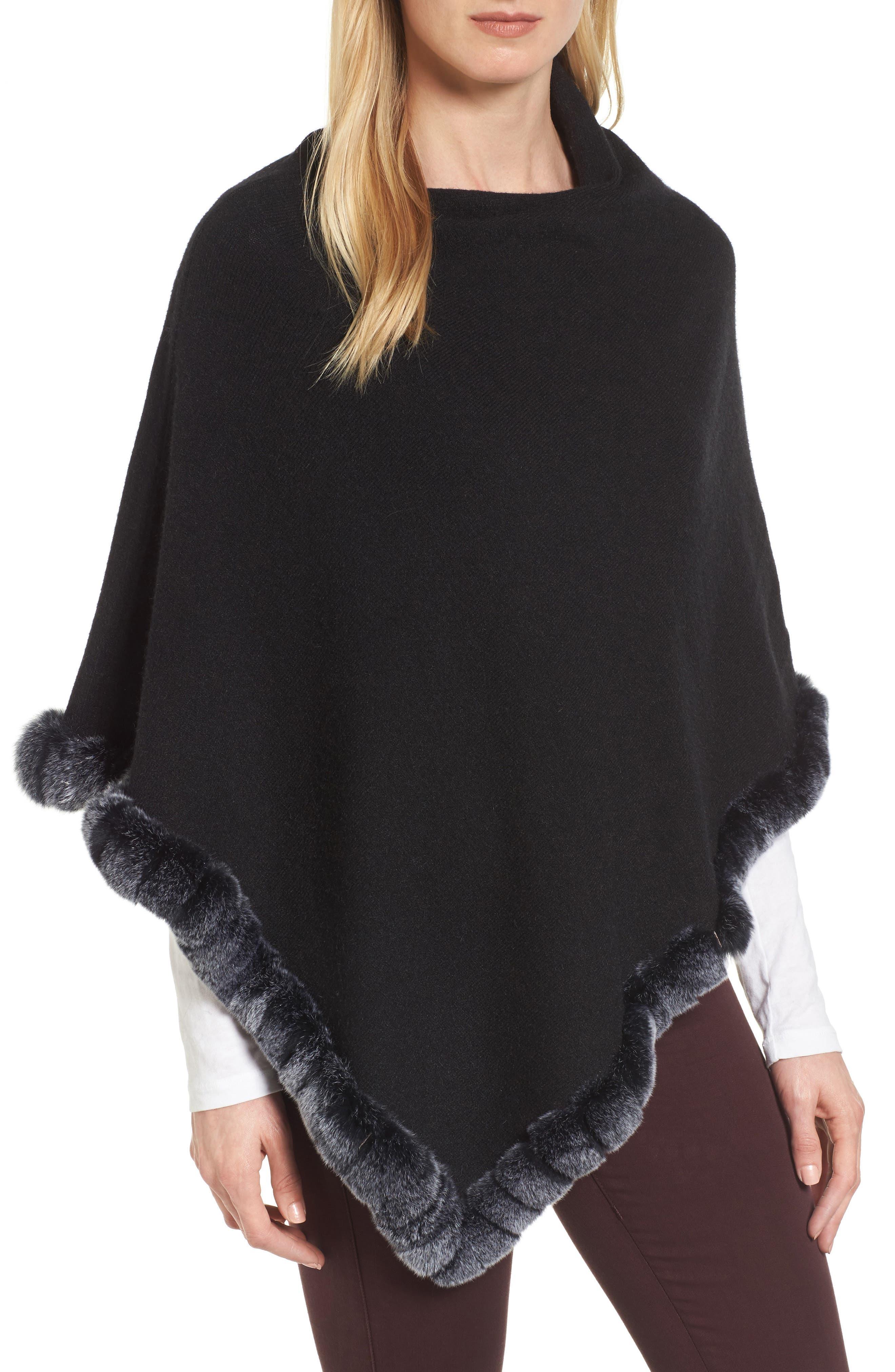 Angled Poncho with Genuine Rabbit Fur Trim,                         Main,                         color, Black