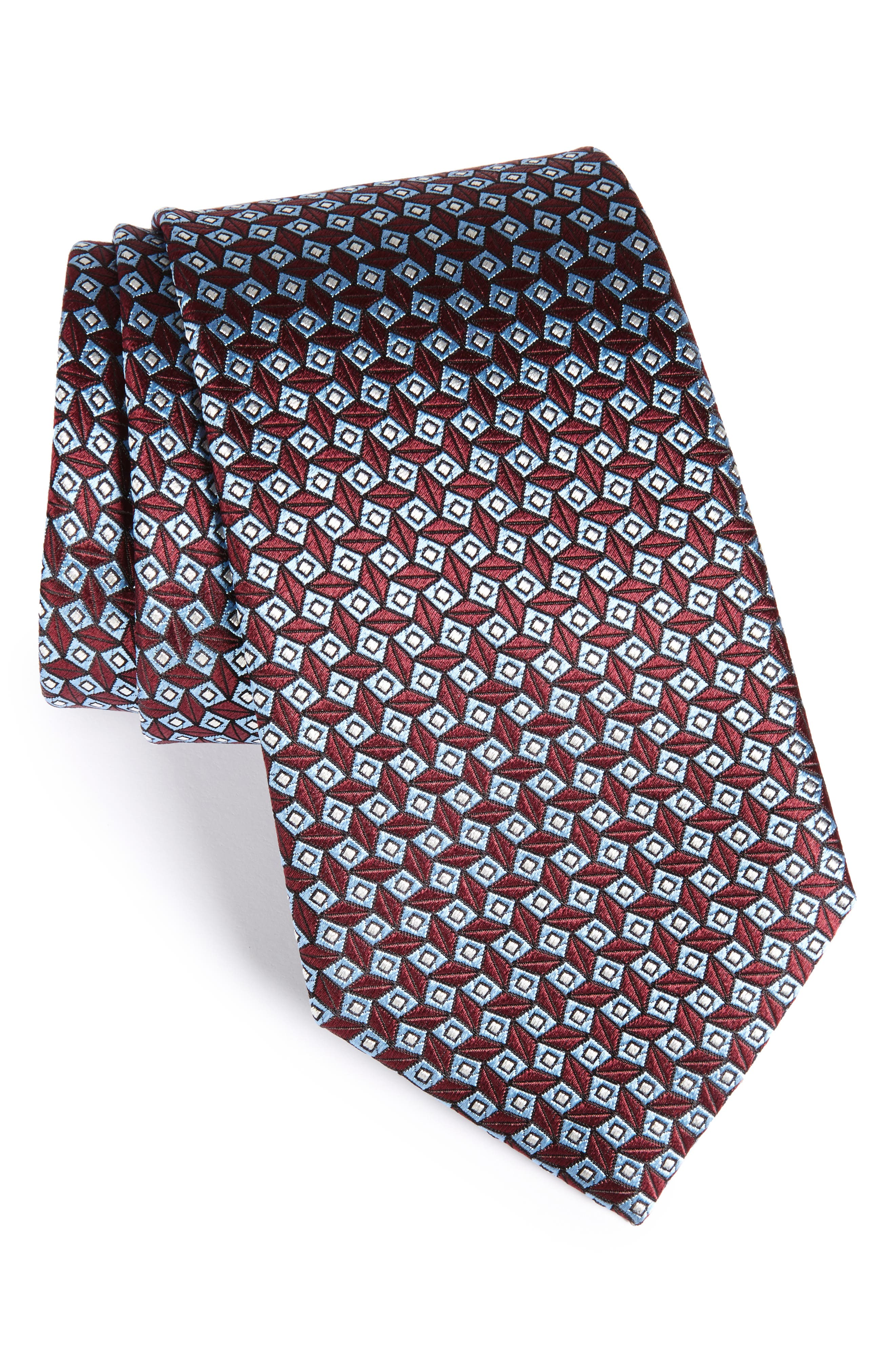 Geometric Silk Tie,                             Main thumbnail 1, color,                             Red Micro Fan