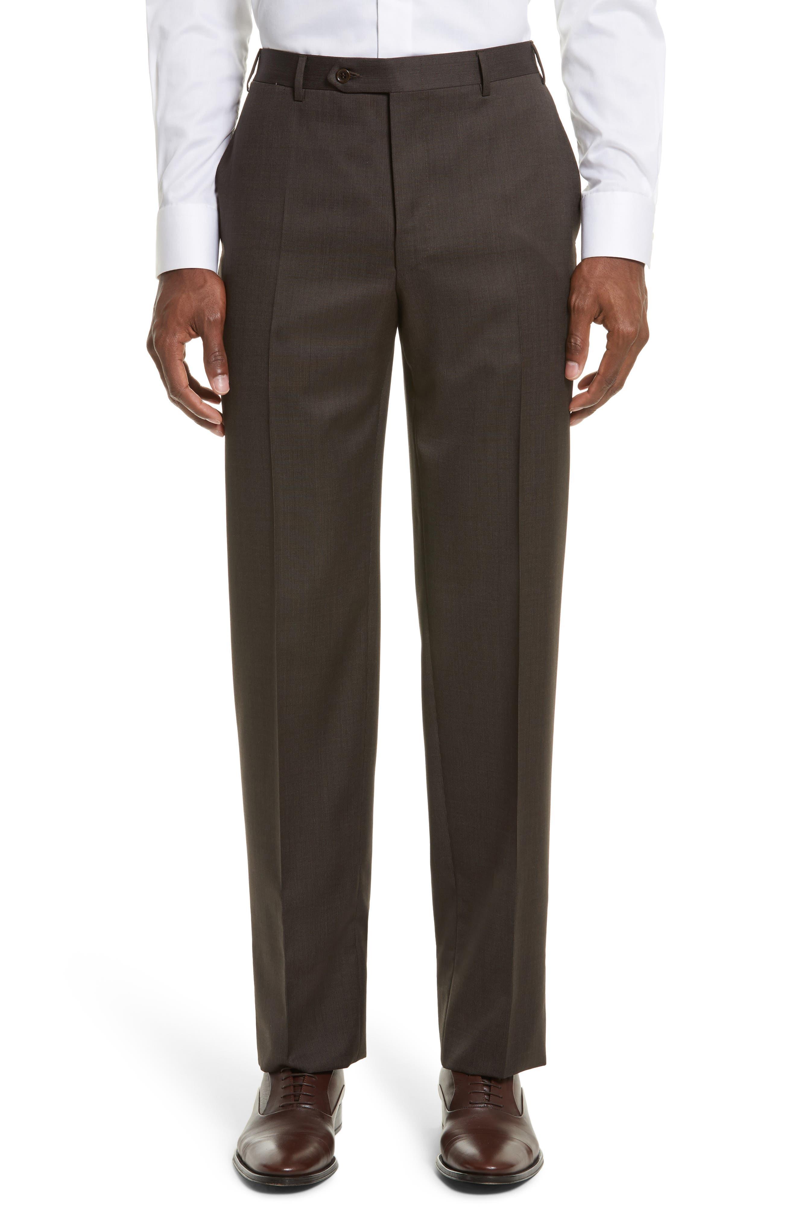 Main Image - Canali Flat Front Stripe Wool Trousers