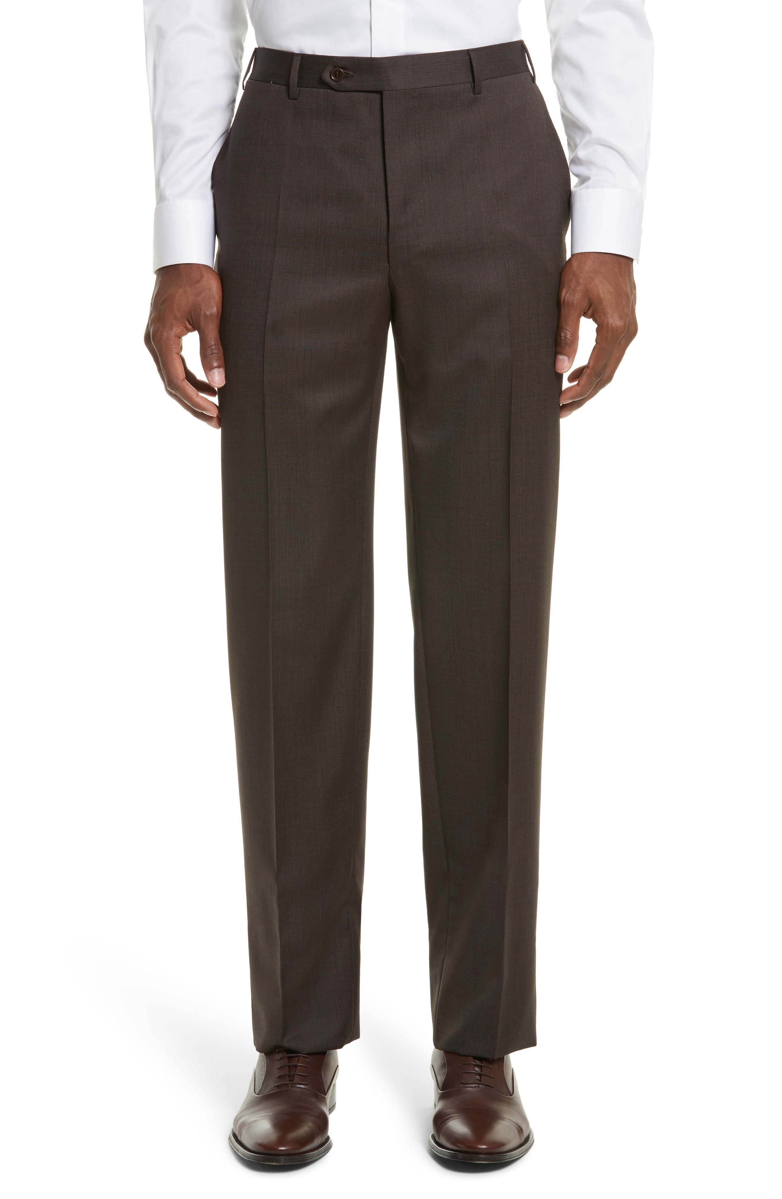 Flat Front Stripe Wool Trousers,                         Main,                         color, Brown