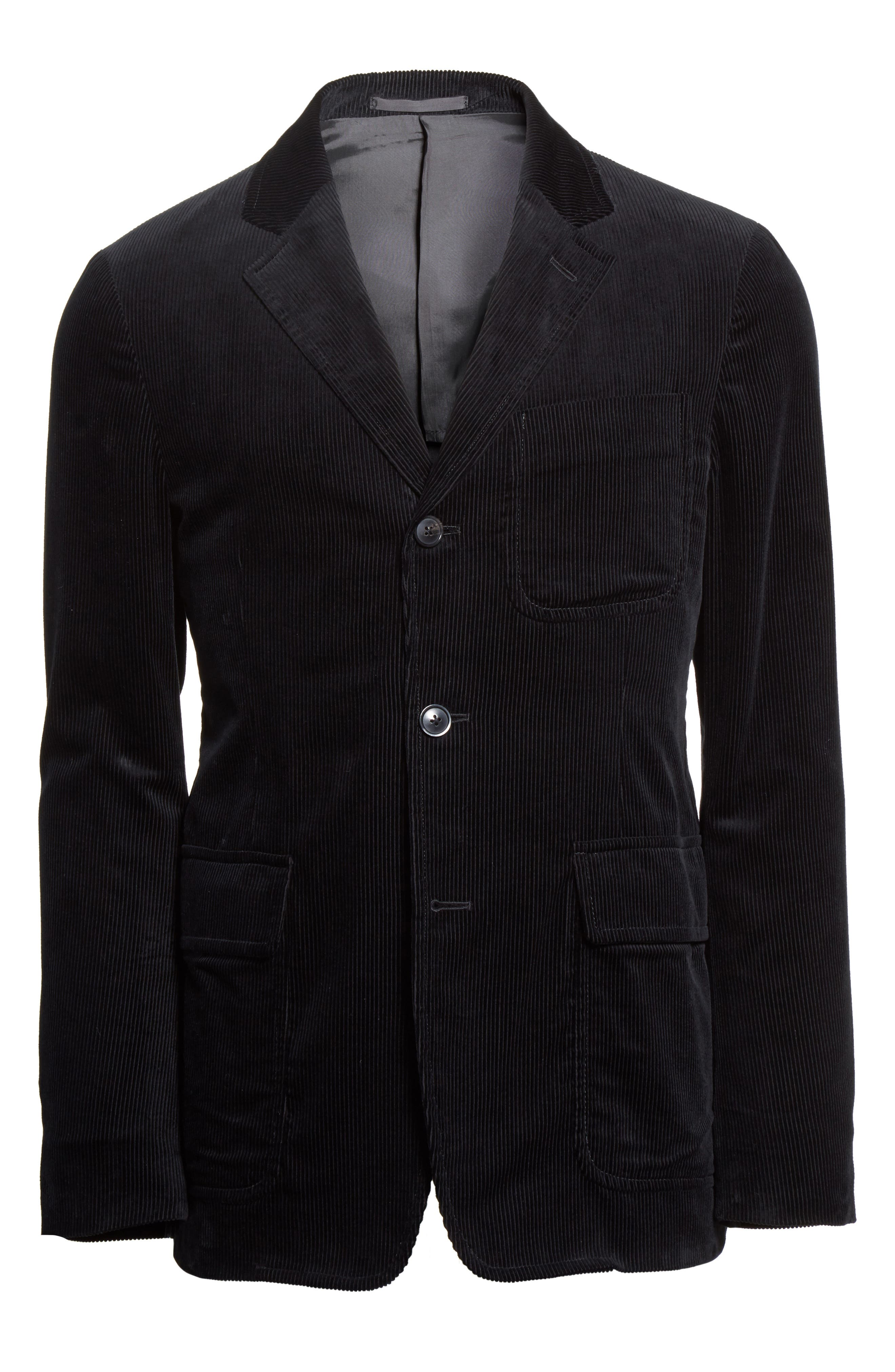 Sea Island Corduroy Jacket,                             Alternate thumbnail 6, color,                             Black