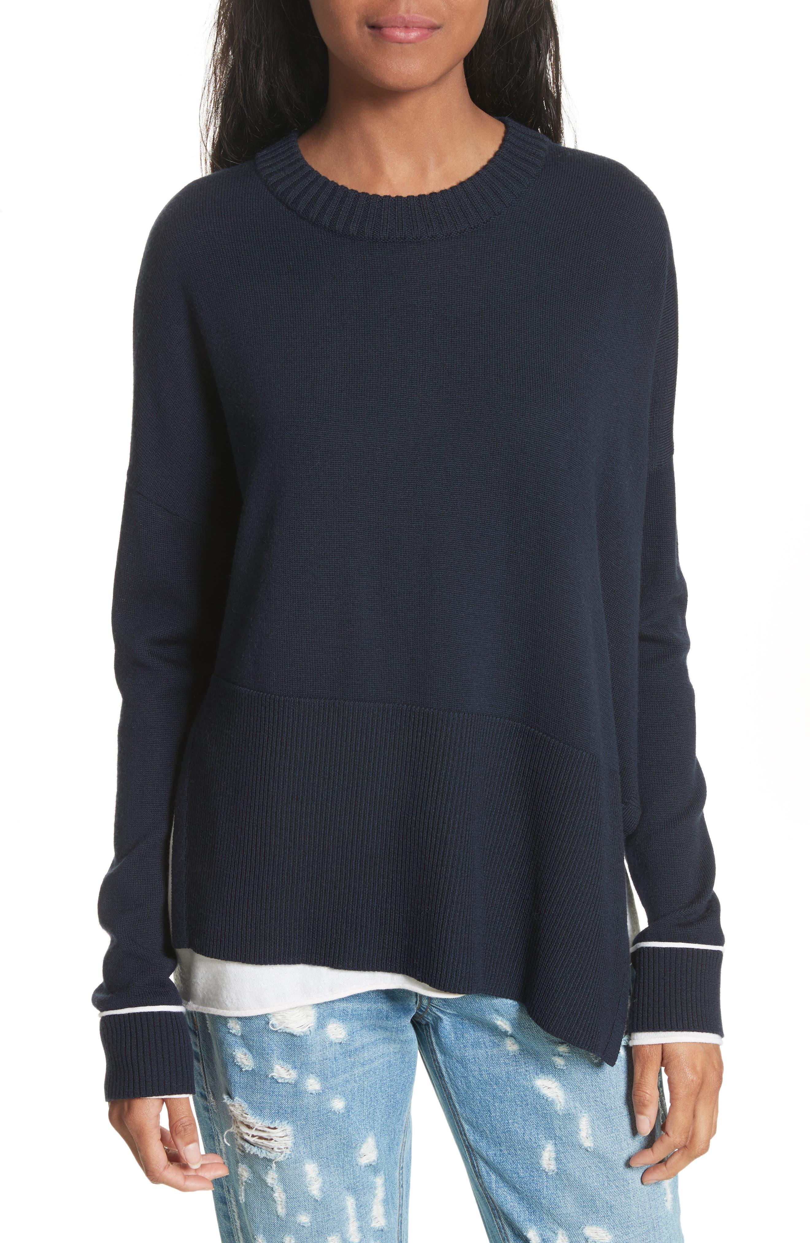 Layered Hem Wool & Cotton Sweater,                         Main,                         color, Navy/ White
