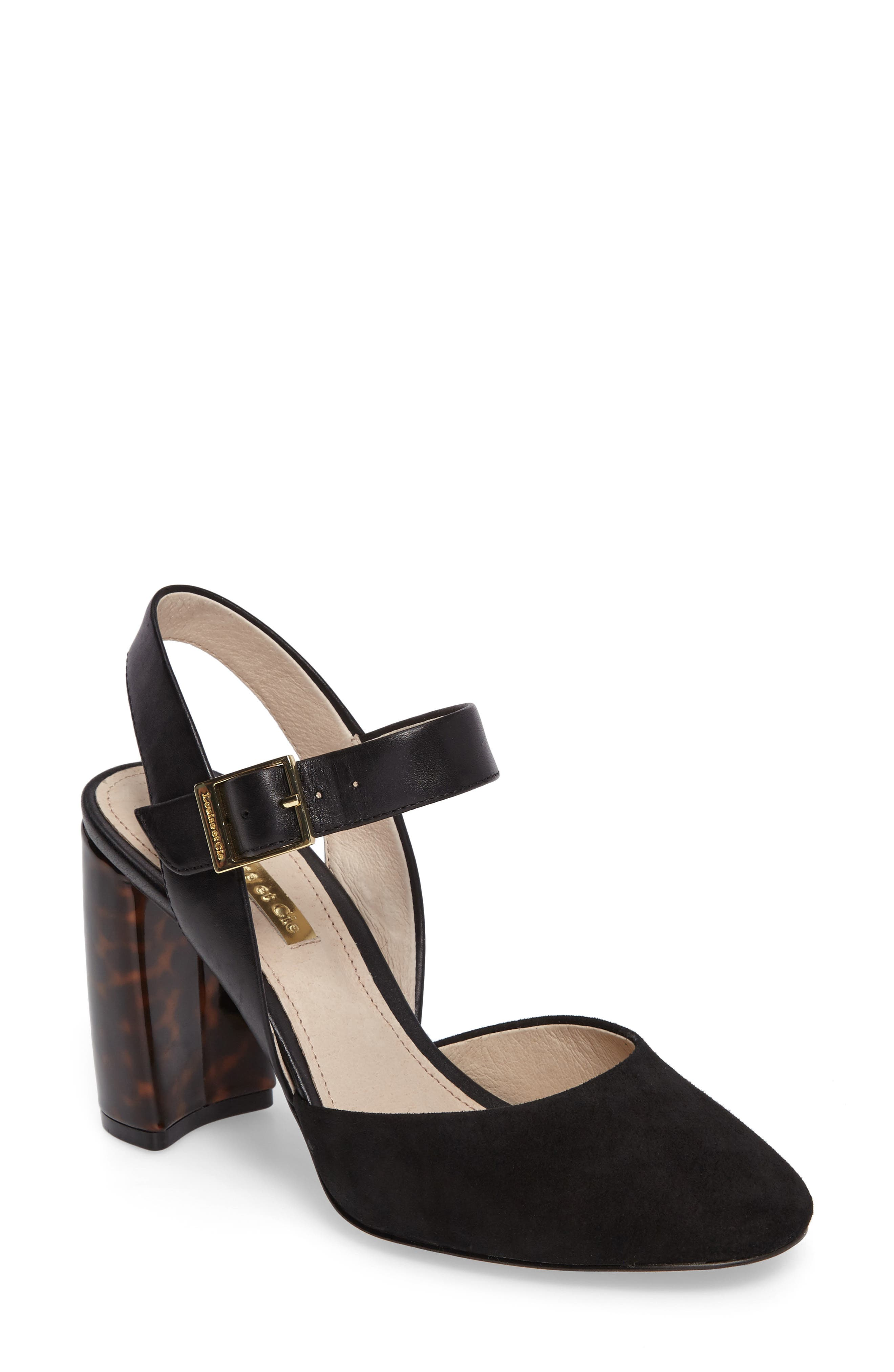 Juveau Crescent Heel Pump,                         Main,                         color, Black Suede