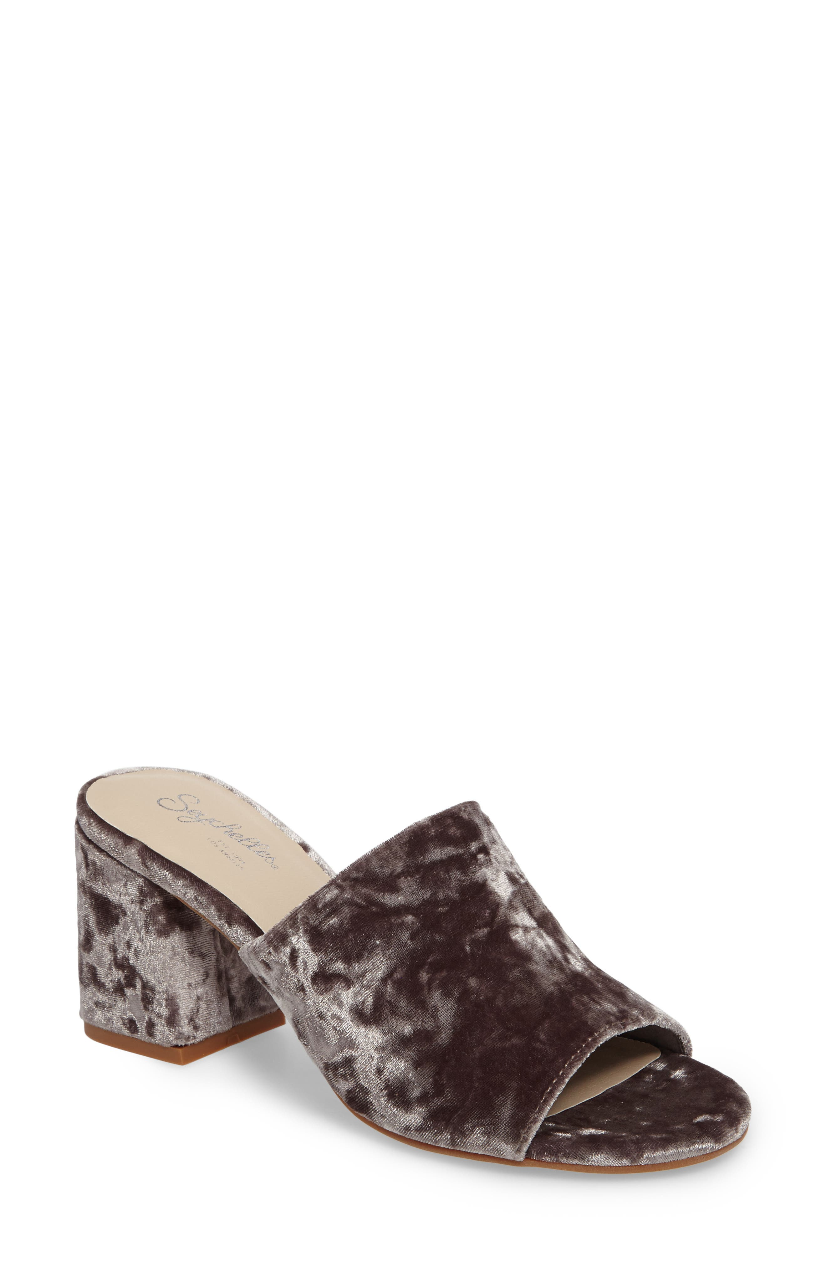Commute Flared Heel Slide Sandal,                             Main thumbnail 1, color,                             Grey Velvet Fabric