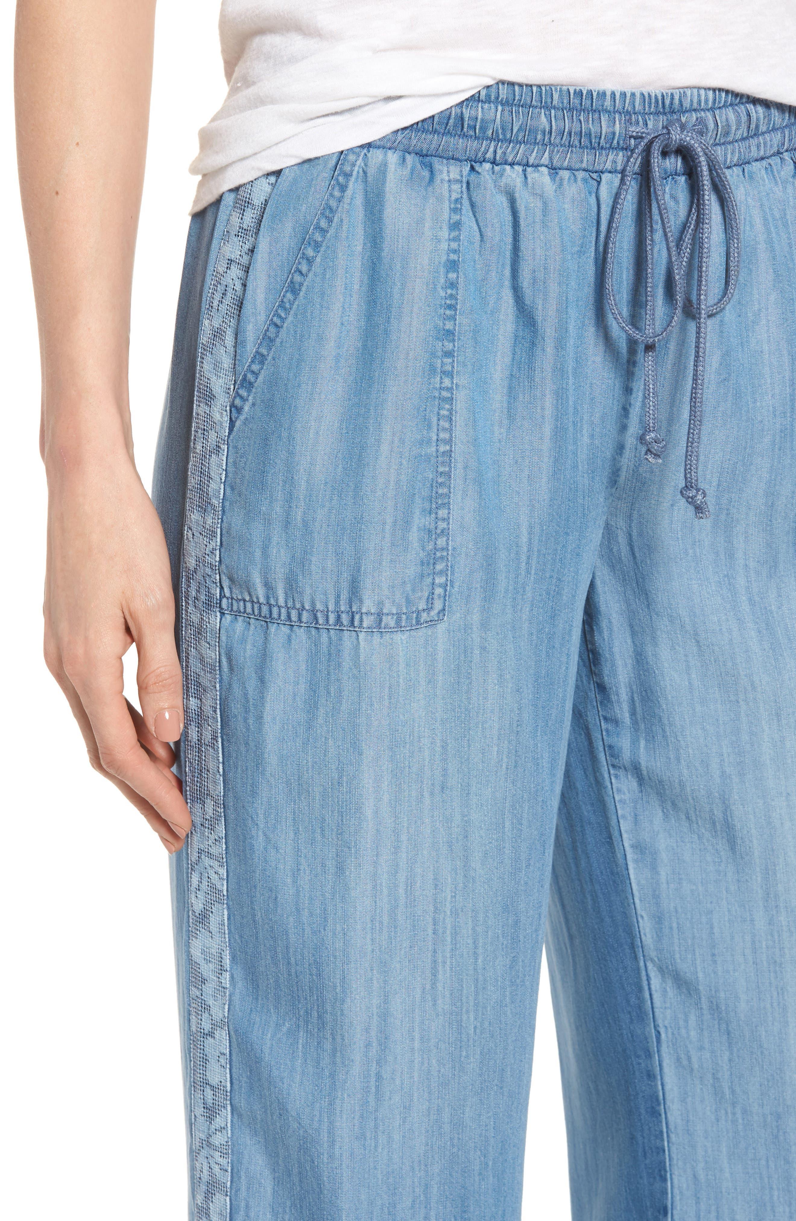 Drawstring Wide Leg Pants,                             Alternate thumbnail 4, color,                             Medium Blue