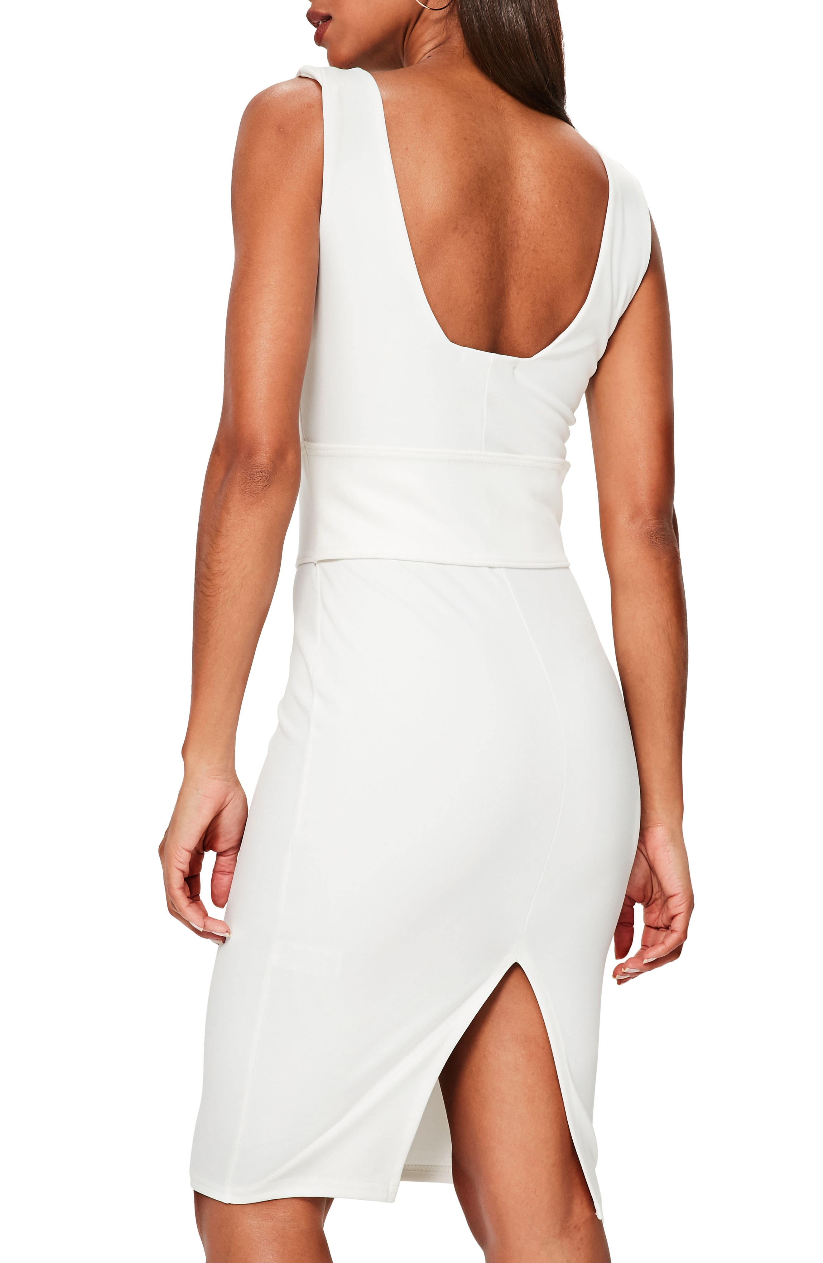 Corset Belt Body-Con Dress,                             Alternate thumbnail 2, color,                             Cream