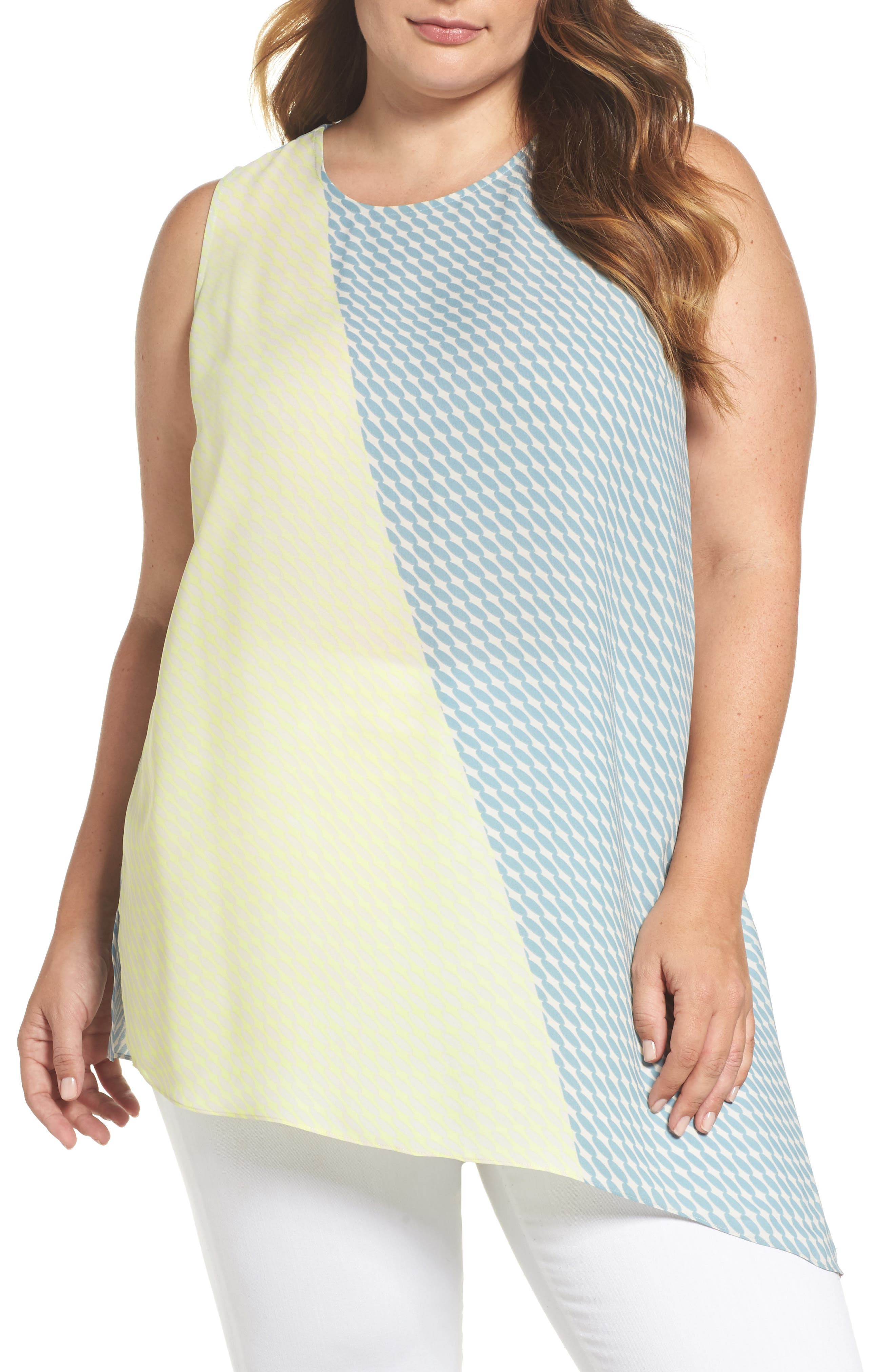 Vince Camuto Modern Slant Colorblock Asymmetrical Top (Plus Size)