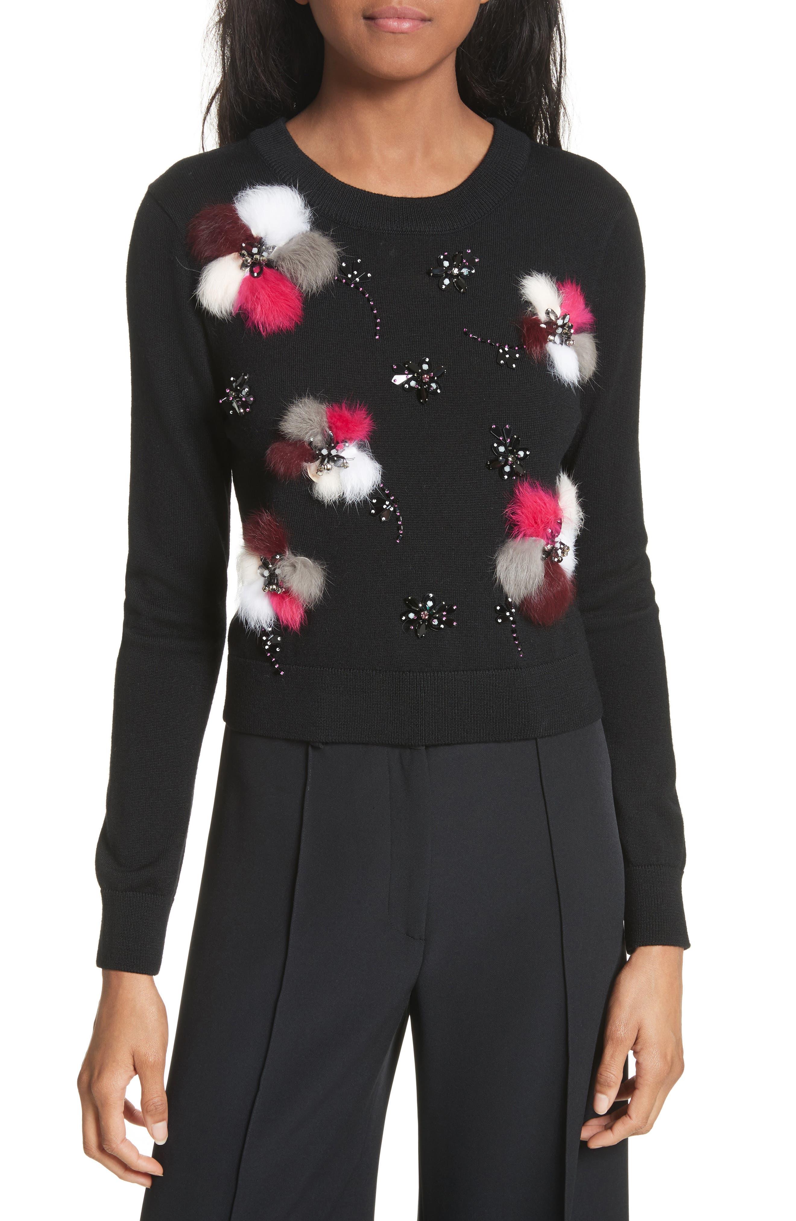 Beaded Wool Sweater with Genuine Rabbit Fur Trim,                         Main,                         color, Black