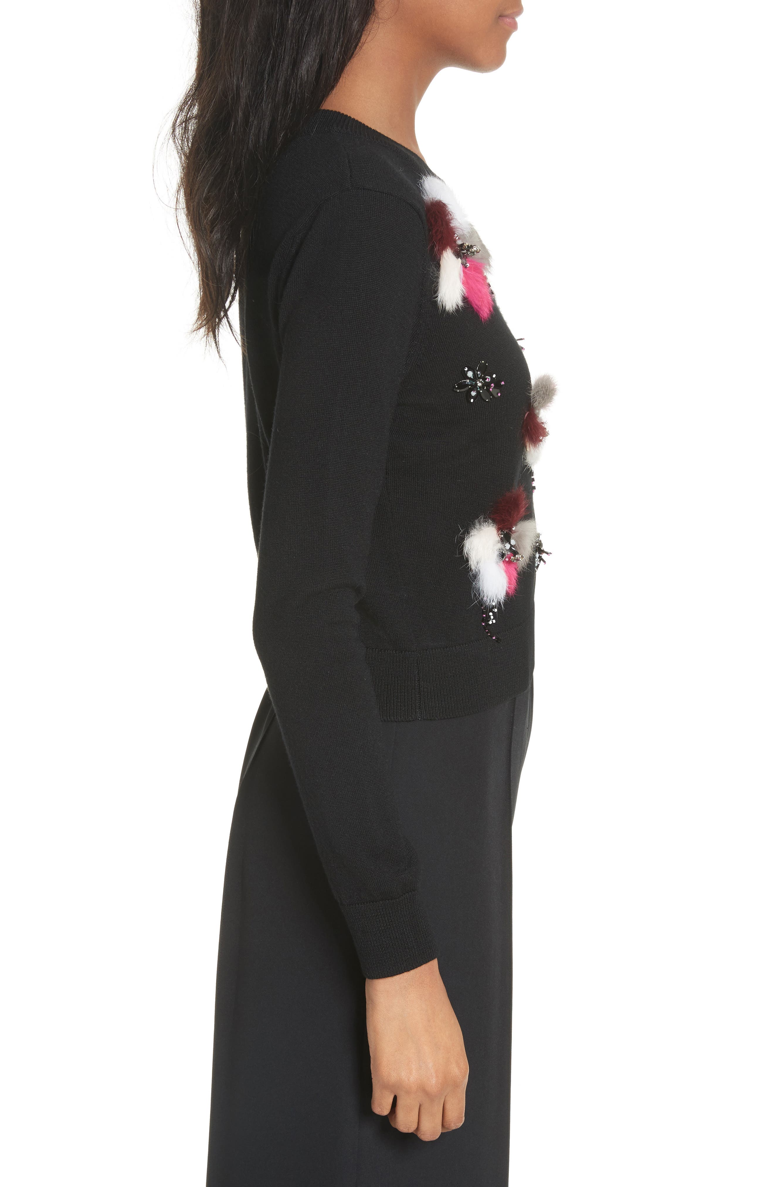 Beaded Wool Sweater with Genuine Rabbit Fur Trim,                             Alternate thumbnail 4, color,                             Black