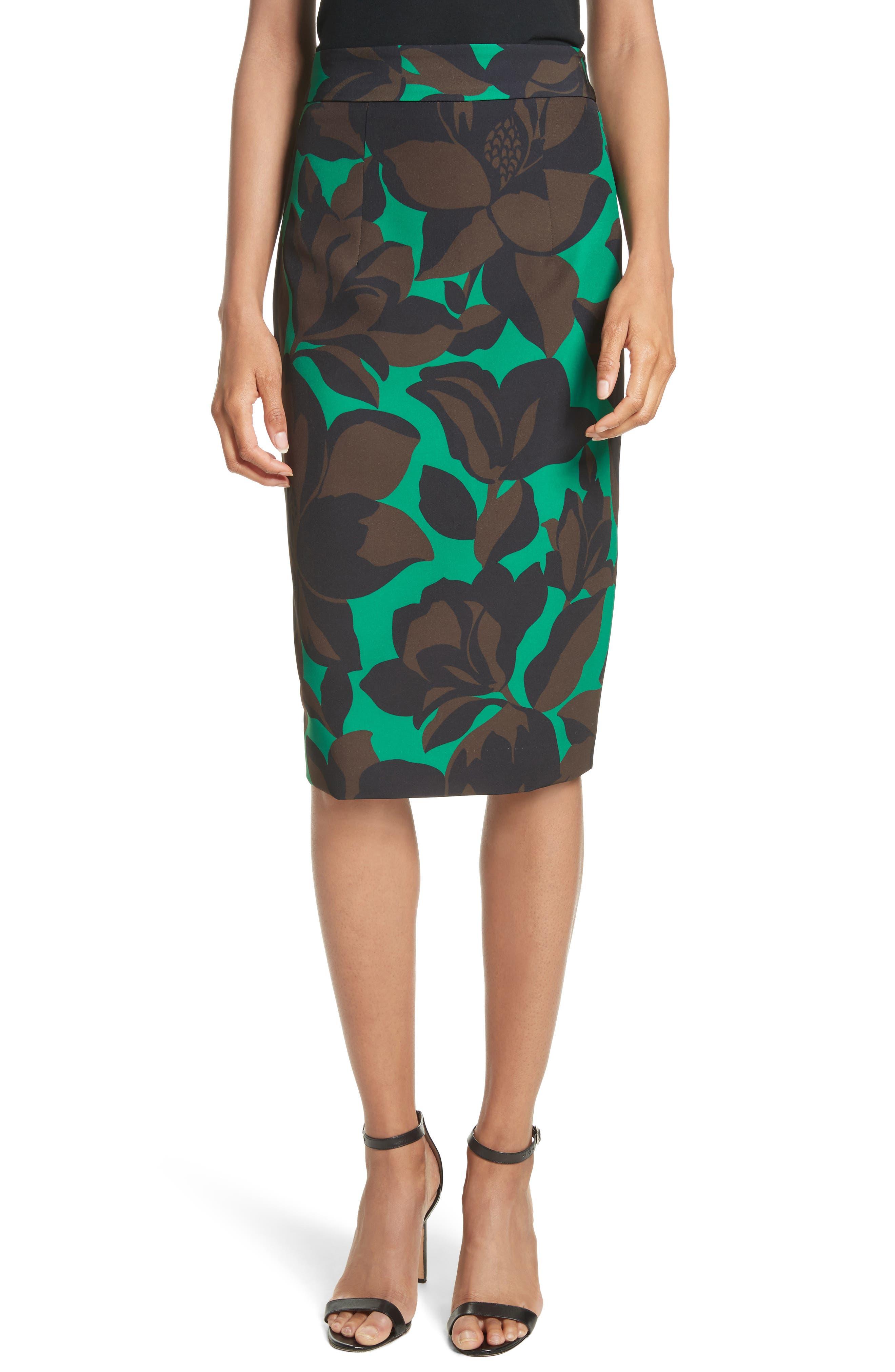 Classic Floral Print Midi Skirt,                         Main,                         color, Emerald