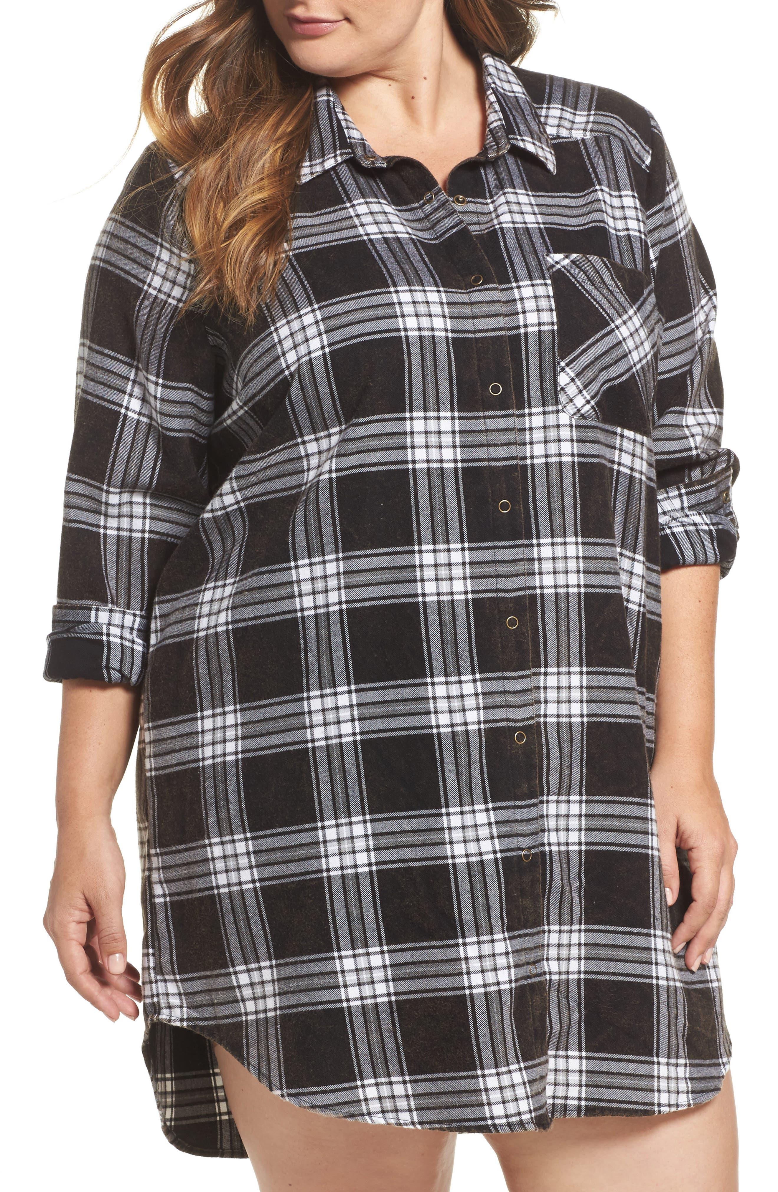 Plaid Cotton Blend Nightshirt,                         Main,                         color, Black Fireside Plaid