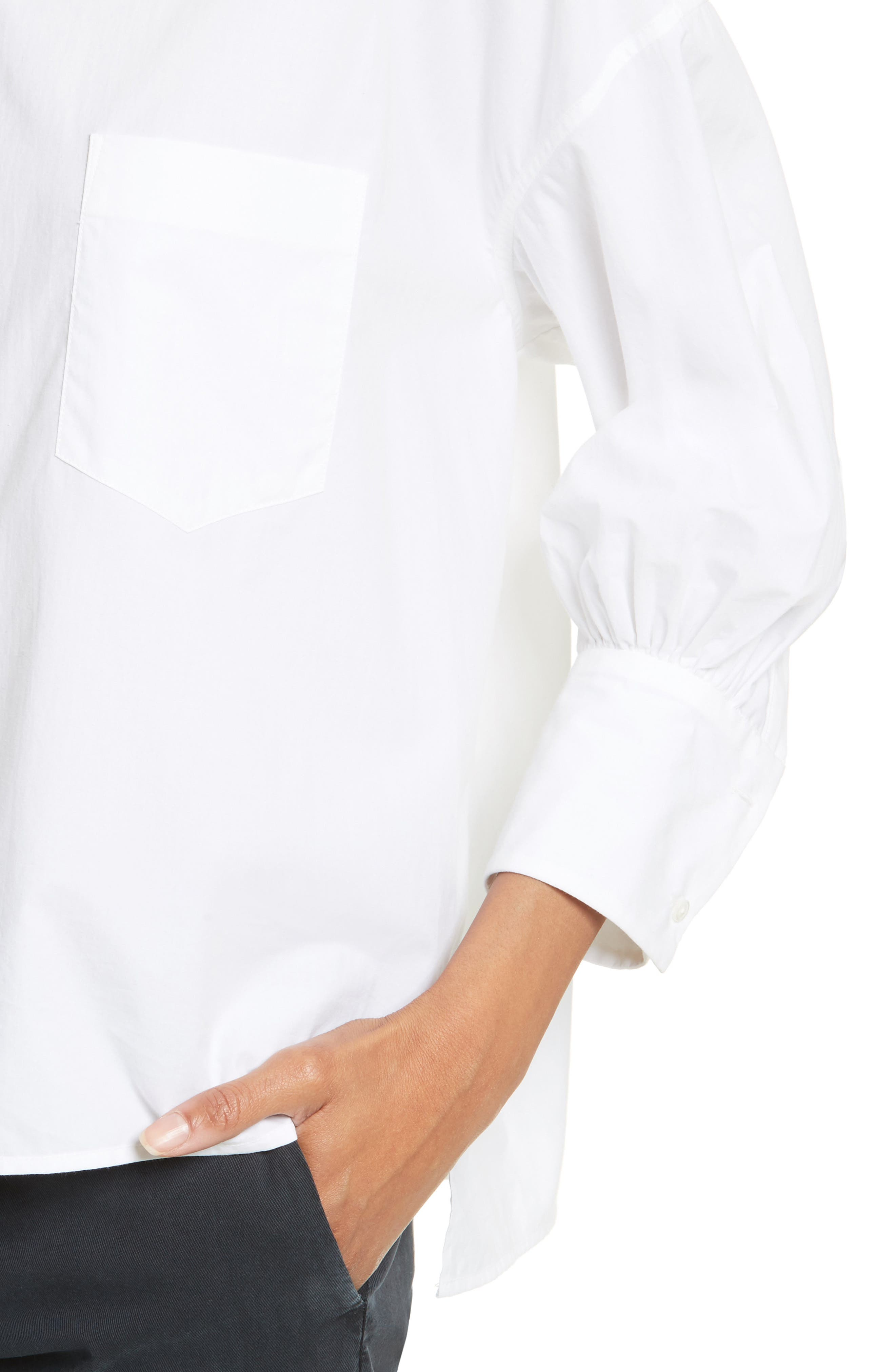 Alternate Image 4  - Nili Lotan Filmore Gathered Cotton Poplin Top