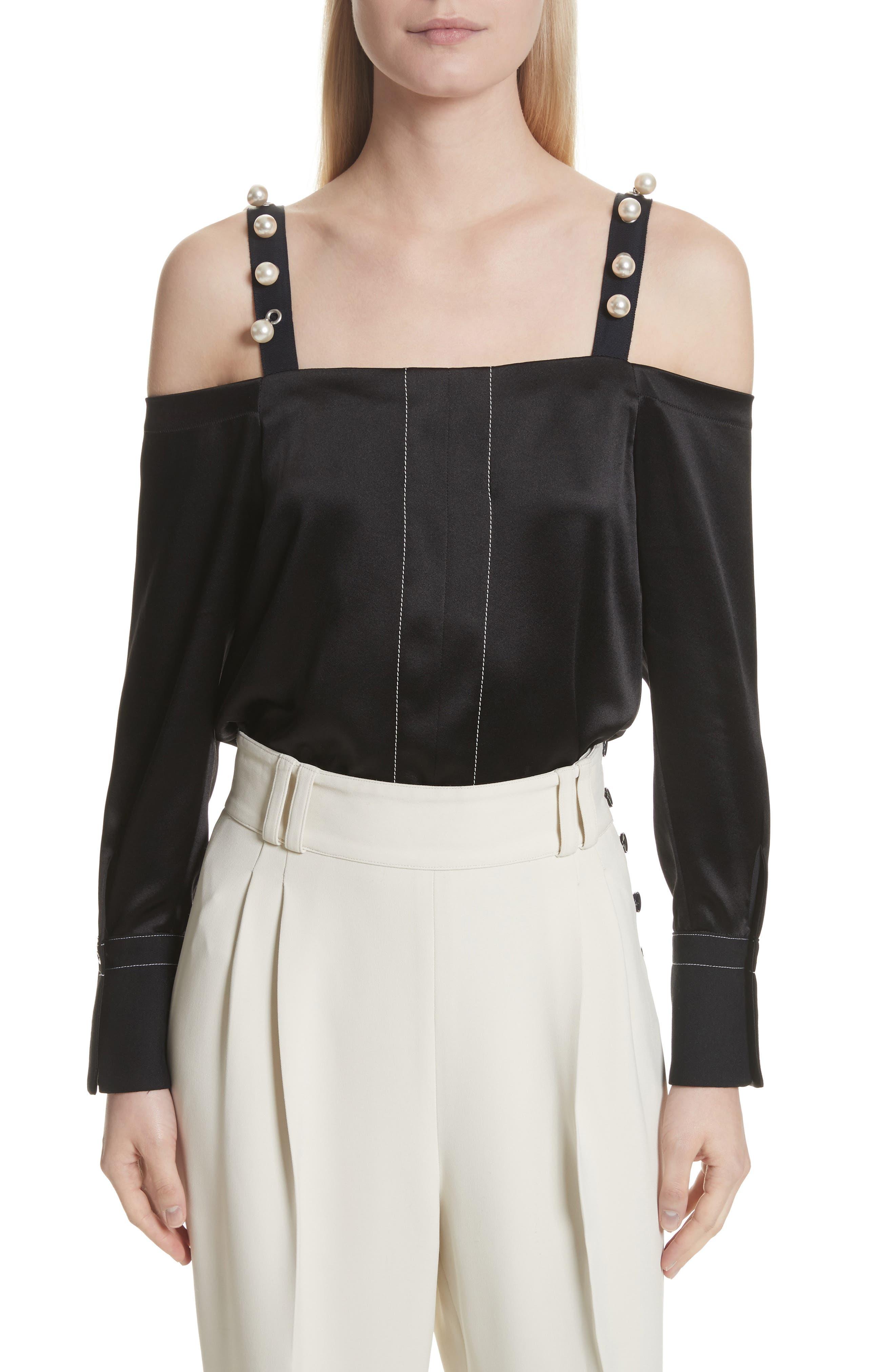Faux Pearl Strap Silk Cold Shoulder Top,                         Main,                         color, Black