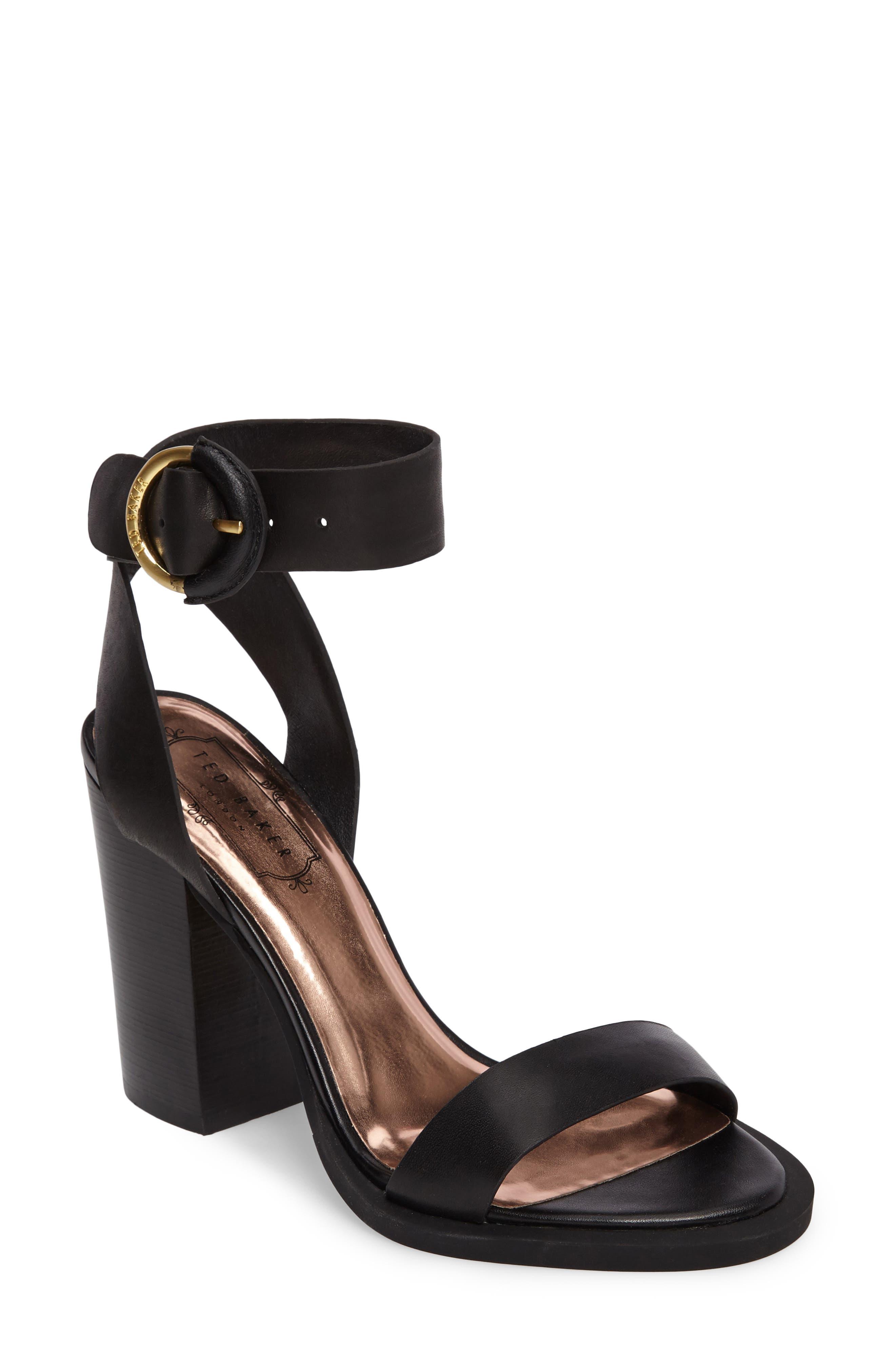 Betciy Ankle Strap Sandal,                             Main thumbnail 1, color,                             Black Leather