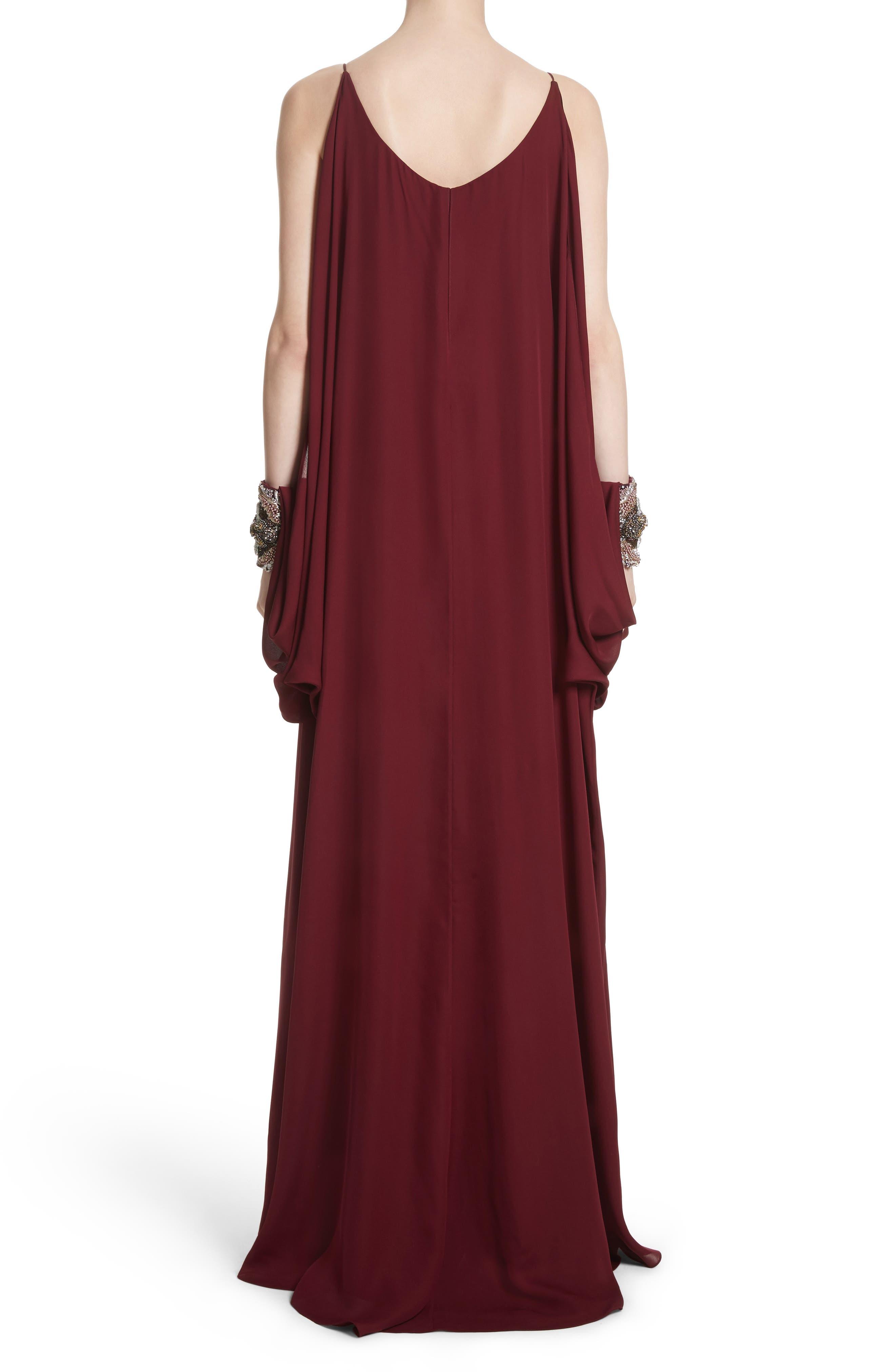 Badgley Mischka Couture Embellished Cuff Silk Caftan,                             Alternate thumbnail 2, color,                             Burgundy