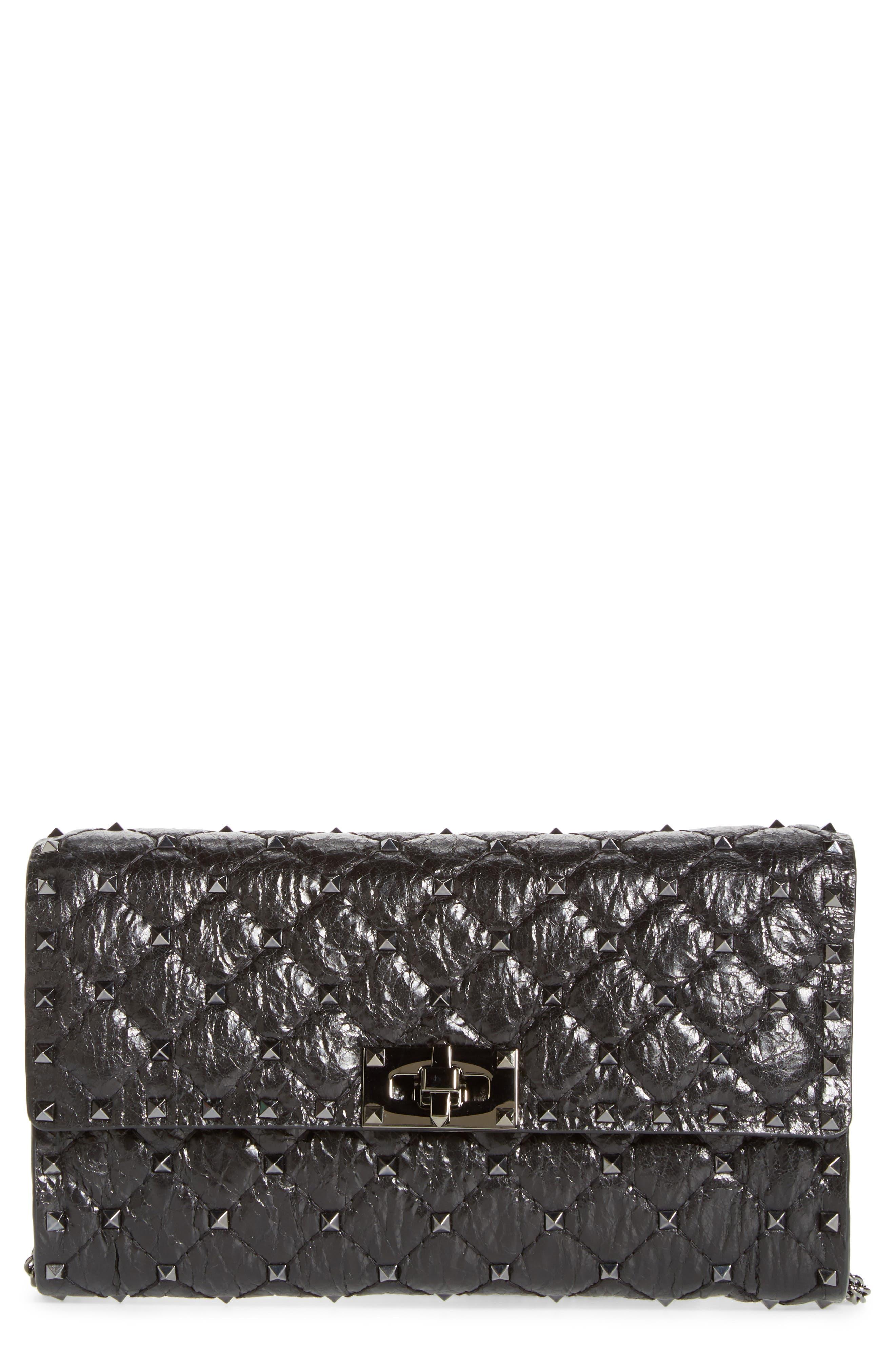 Matelassé Rockstud Spike Leather Wallet on a Chain,                         Main,                         color, Nero