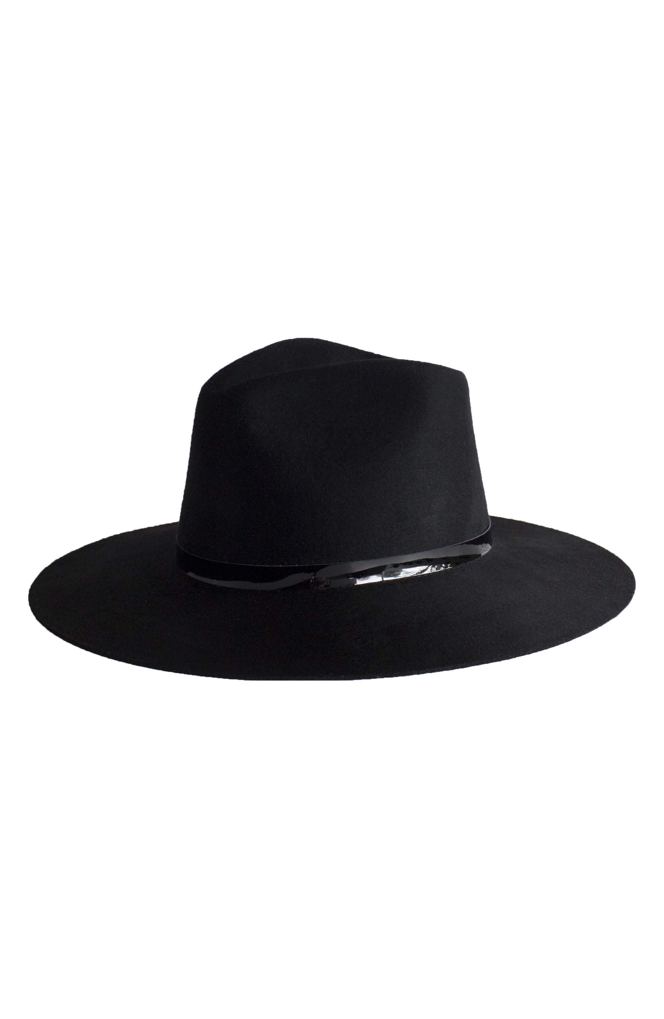 Peyton Wool Fedora,                         Main,                         color, Black